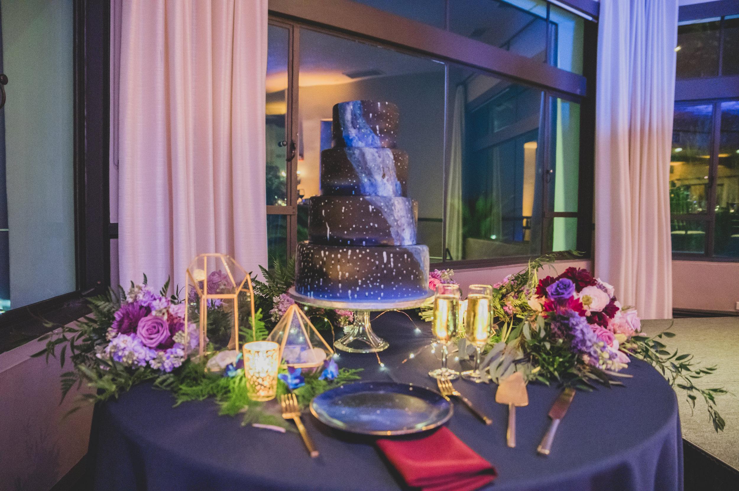 Modern Wedding Theme - A chic, intergalactic themed wedding cake.
