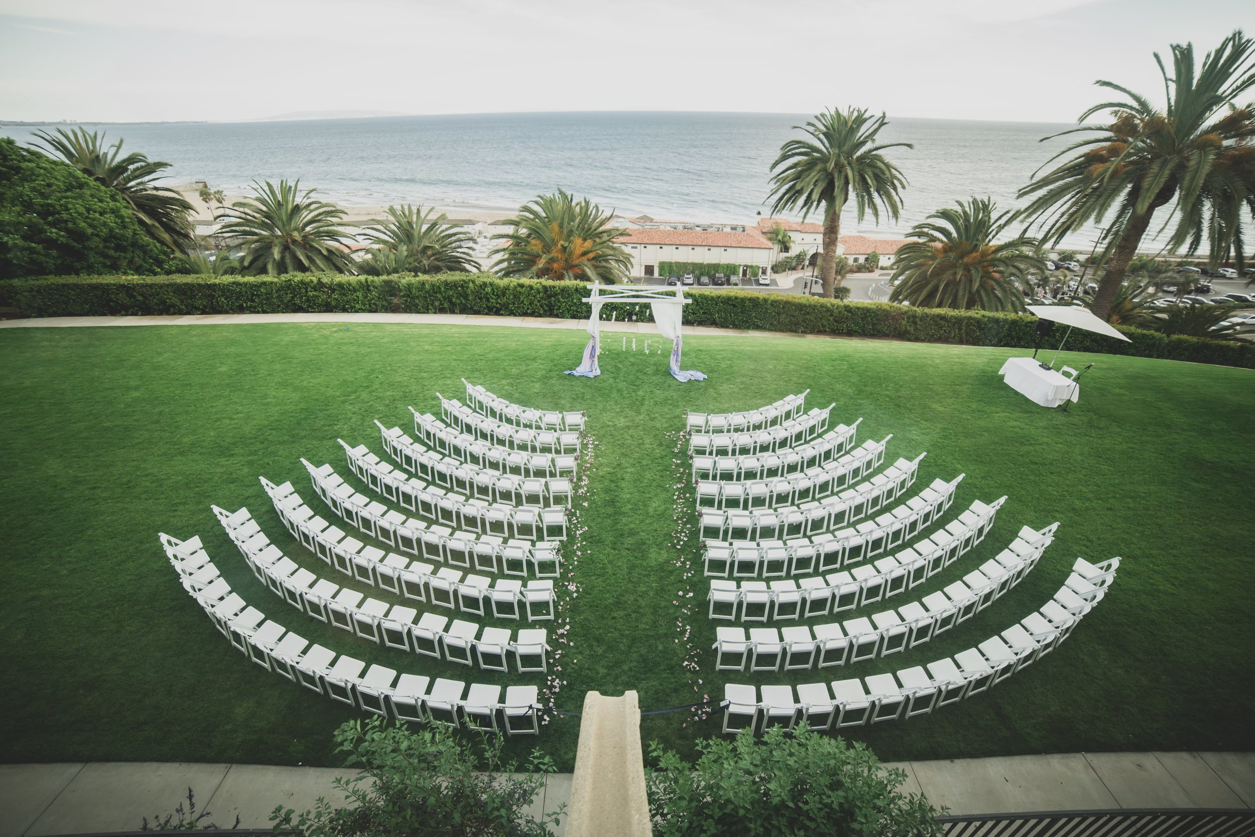 Wedding Photography - Pacific Palisades, CA - Bel Air Bay Club - Drone shot of the ceremony location.