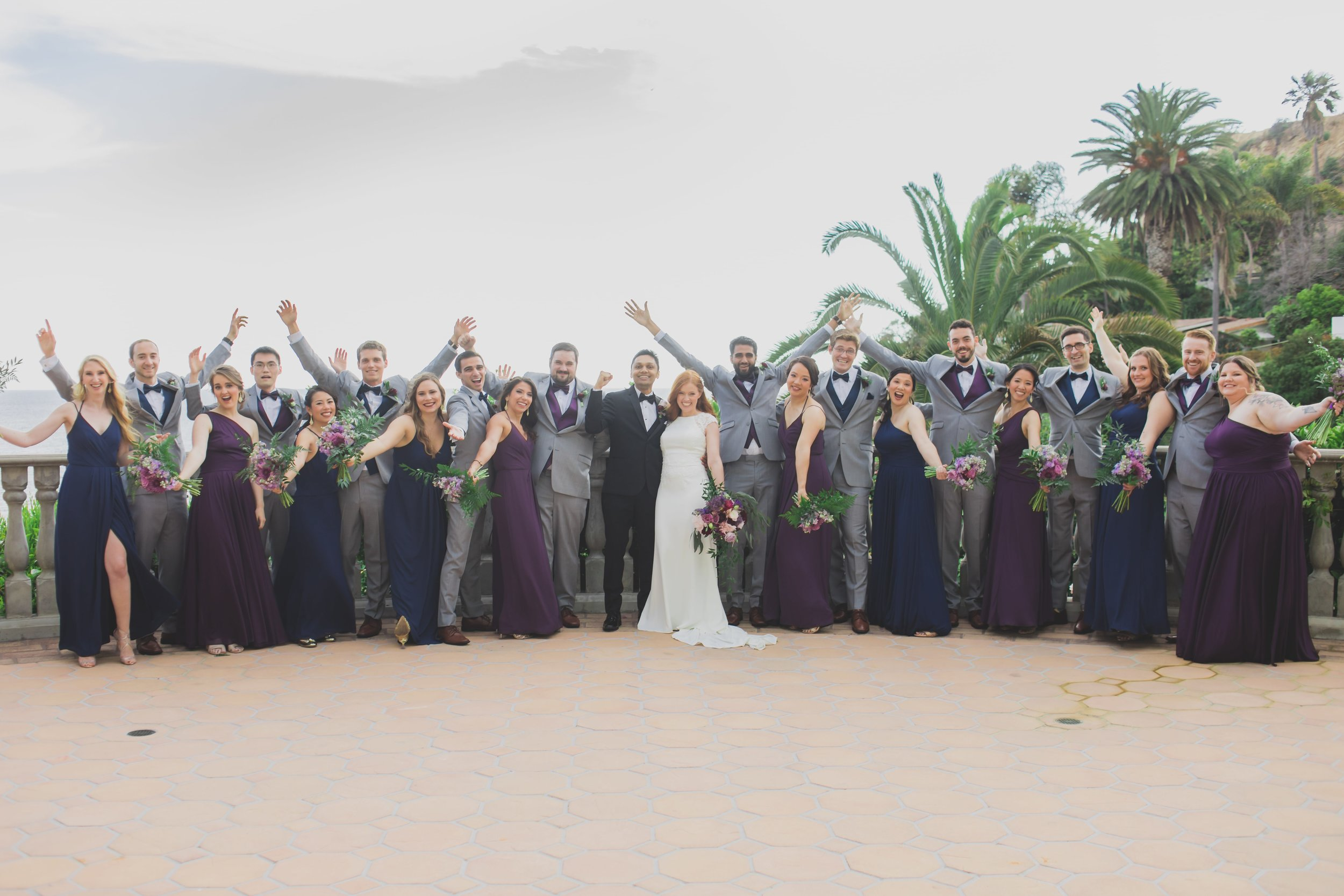 Wedding Photography - Pacific Palisades, CA - Bel Air Bay Club - The bride and groom with their bridal party.
