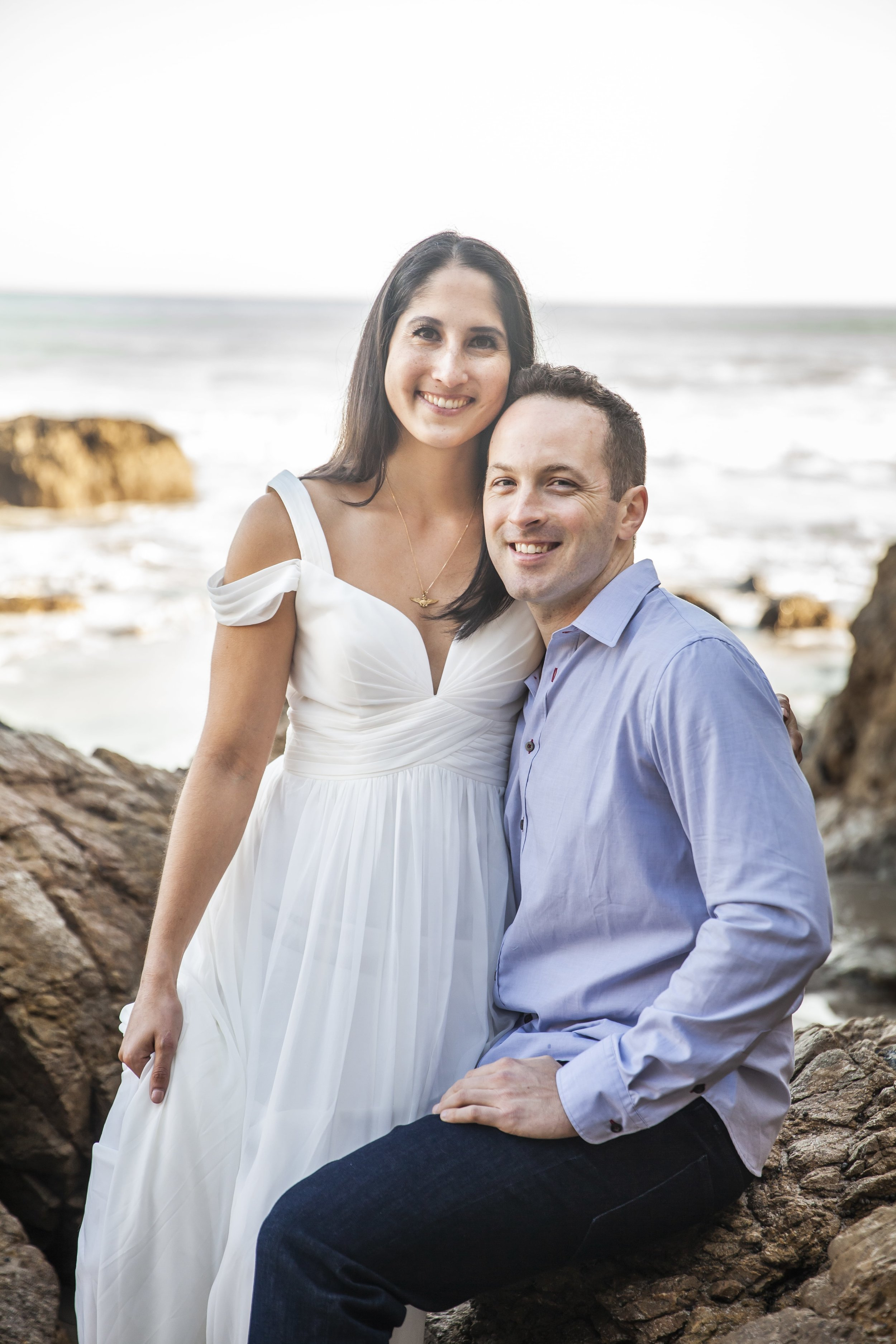California Engagement Photography - Happy couple smiling at the camera.