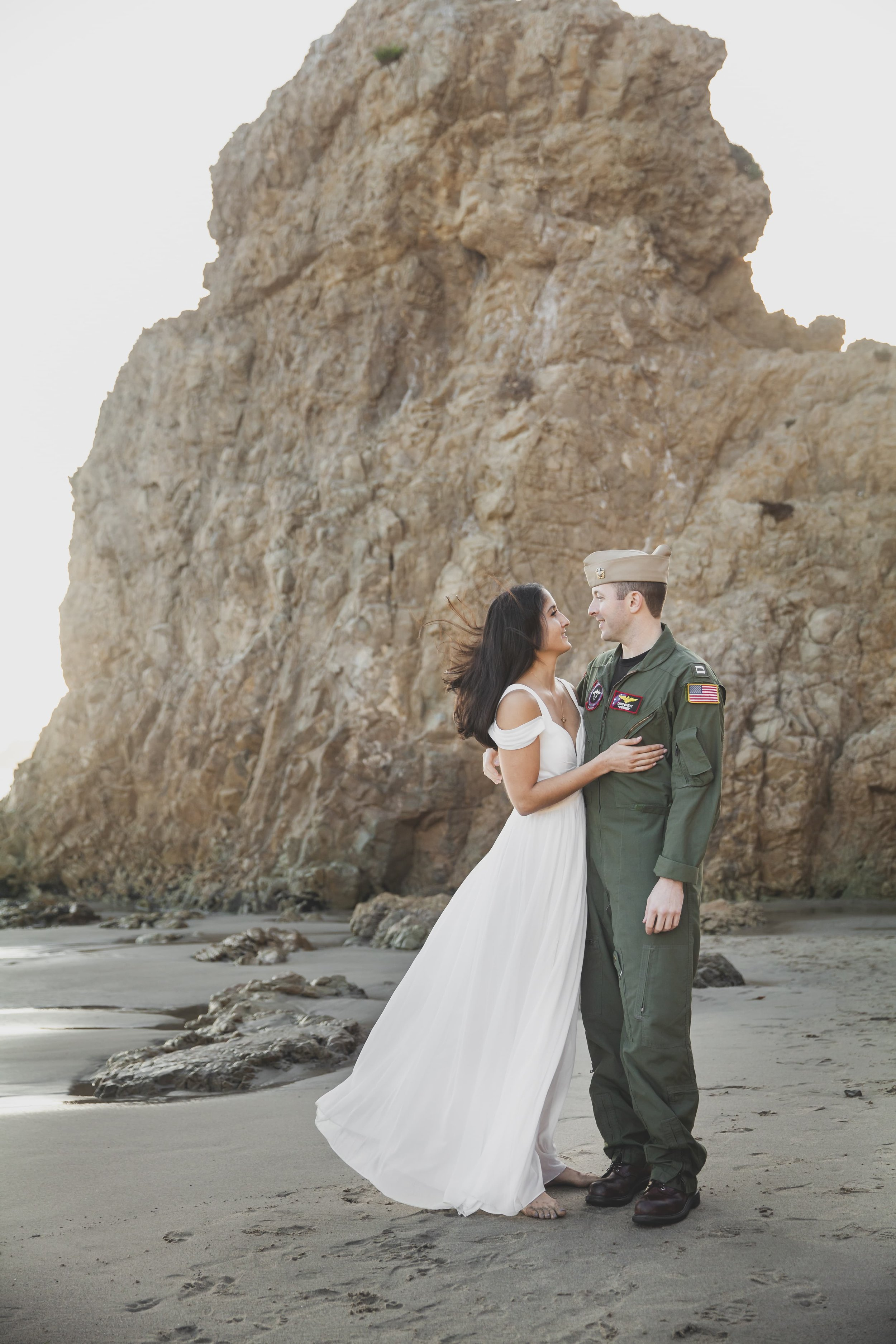 California Engagement Photography - Woman staring lovingly into her partners eyes.