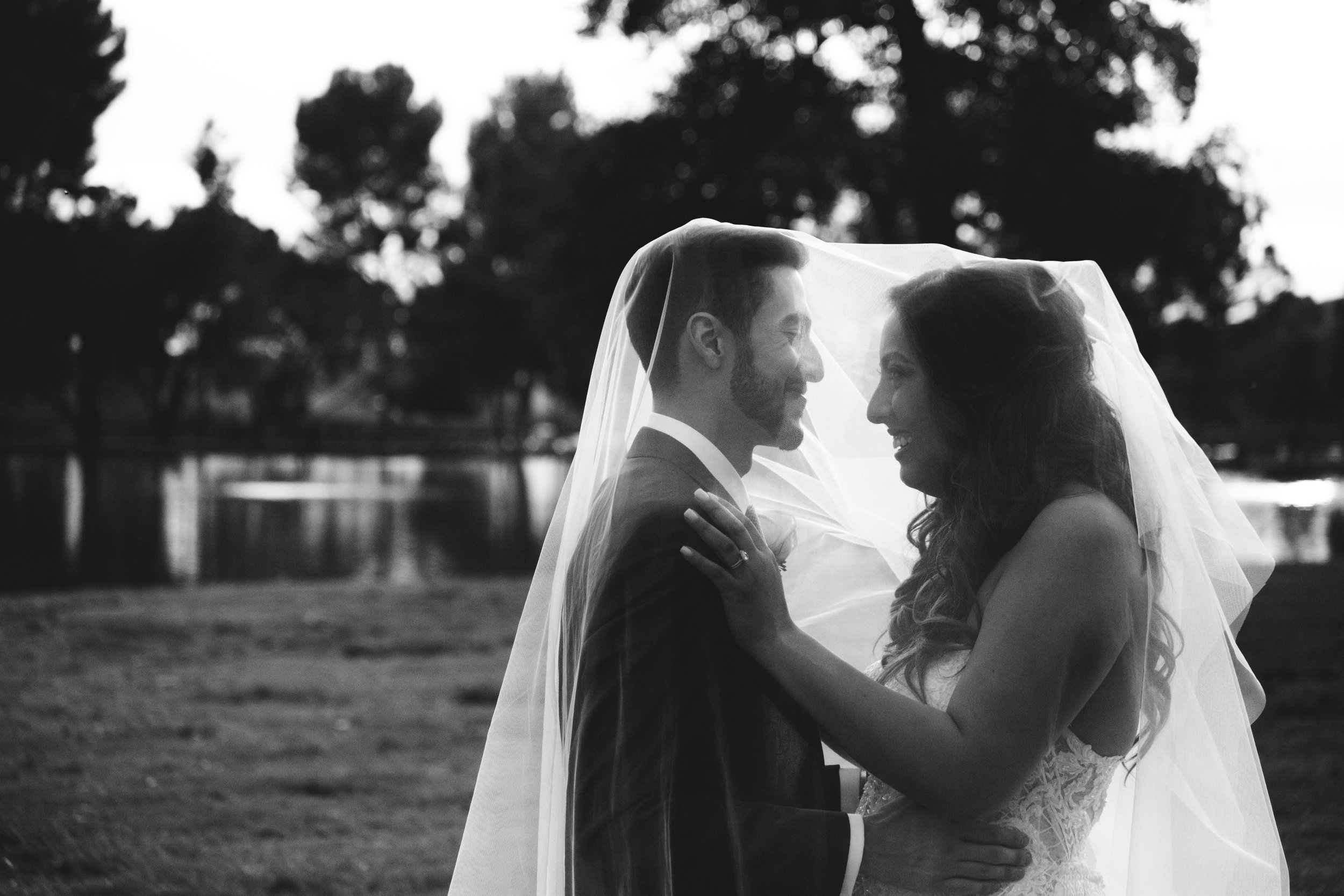 Black and white photo of a bride and groom underneath the brides veil.