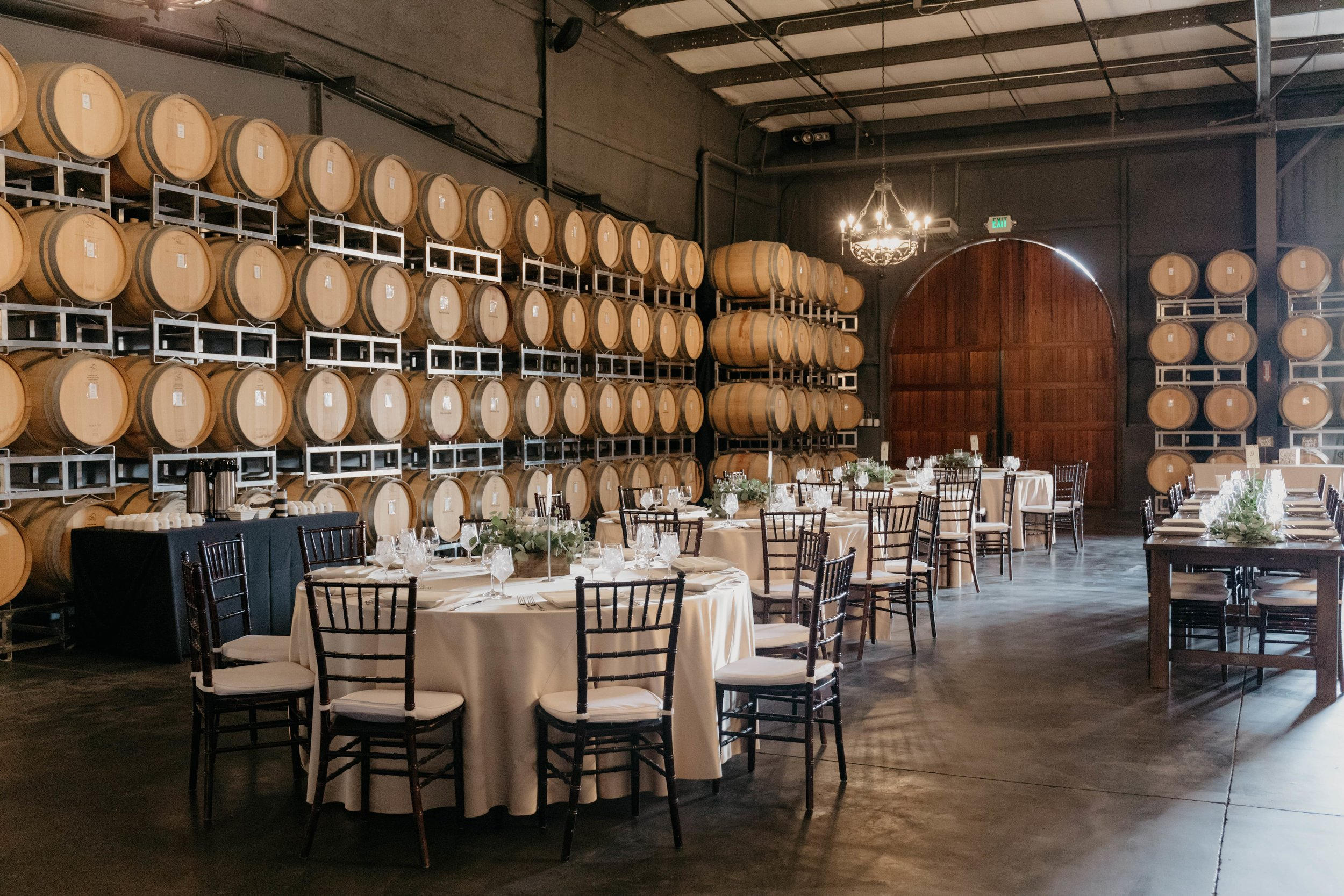 The barrel room at the Leal Vineyard prepared for a wedding reception.