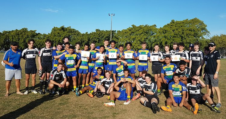 U17 South's Rugby Team (including boys from Lauries, Villanova, Ipswich Grammar, Terrace and State High) showing their support for Conor.