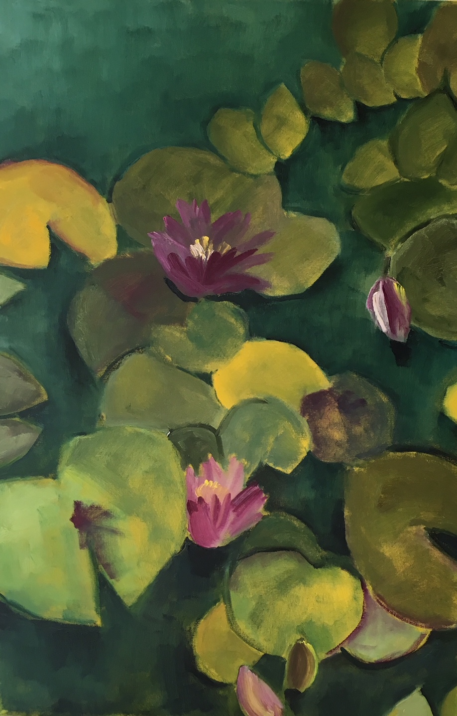 """Forest Green Pink Water Lilies"" 