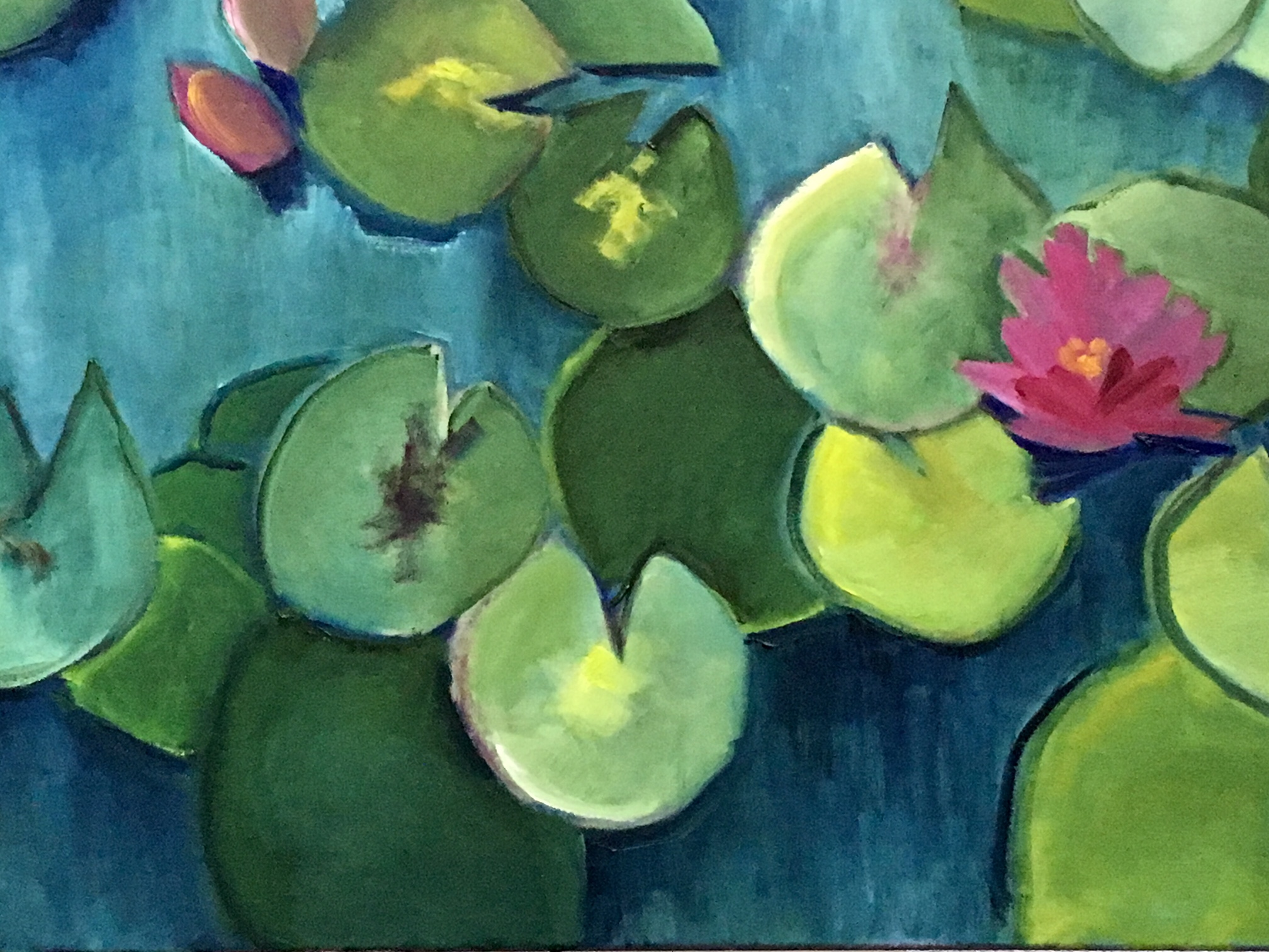 """Teal Lime Pink Water Lily"" 