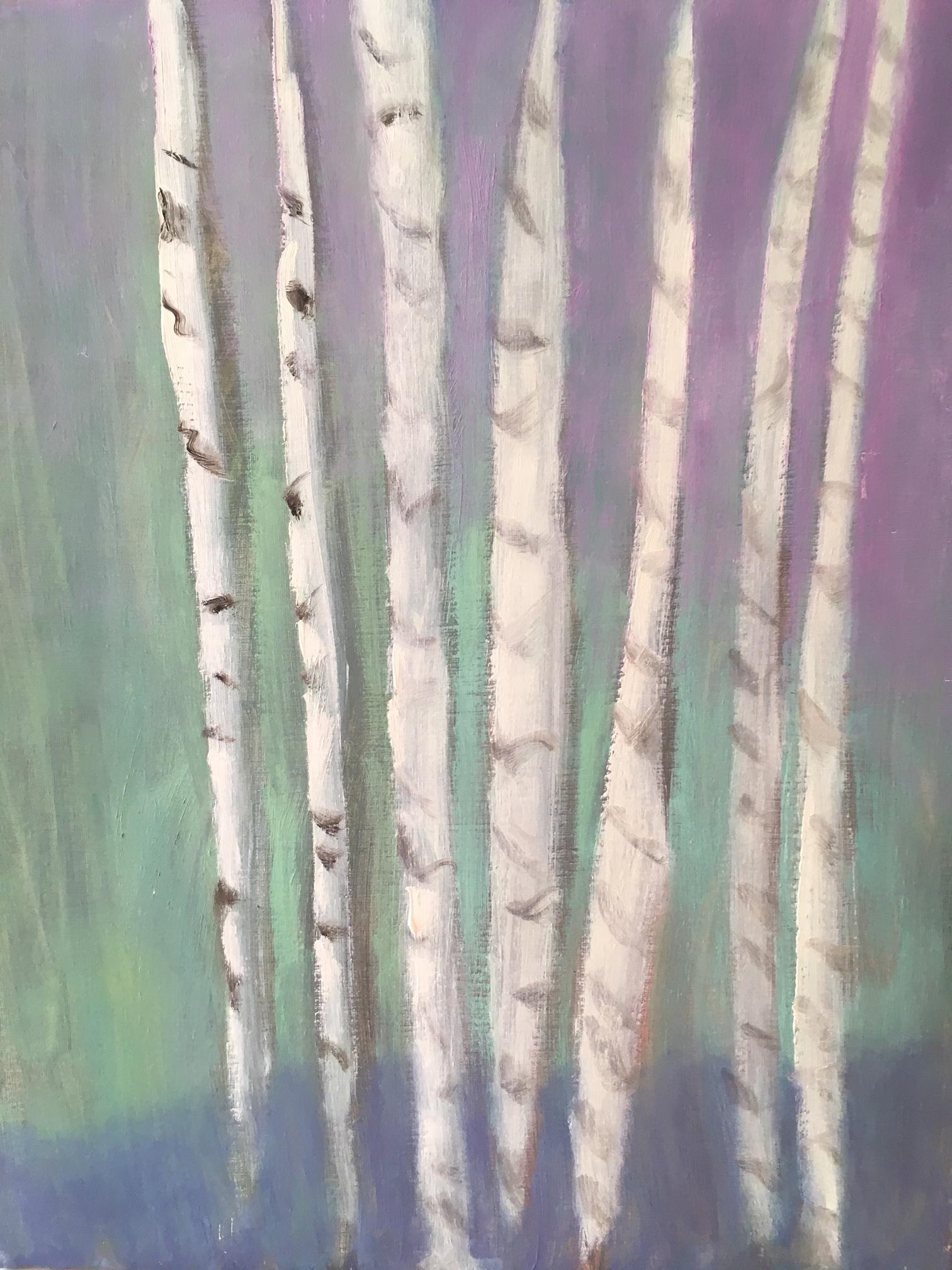 """White Birch Lilac Sky"" | Oil On Canvas | 20x16"