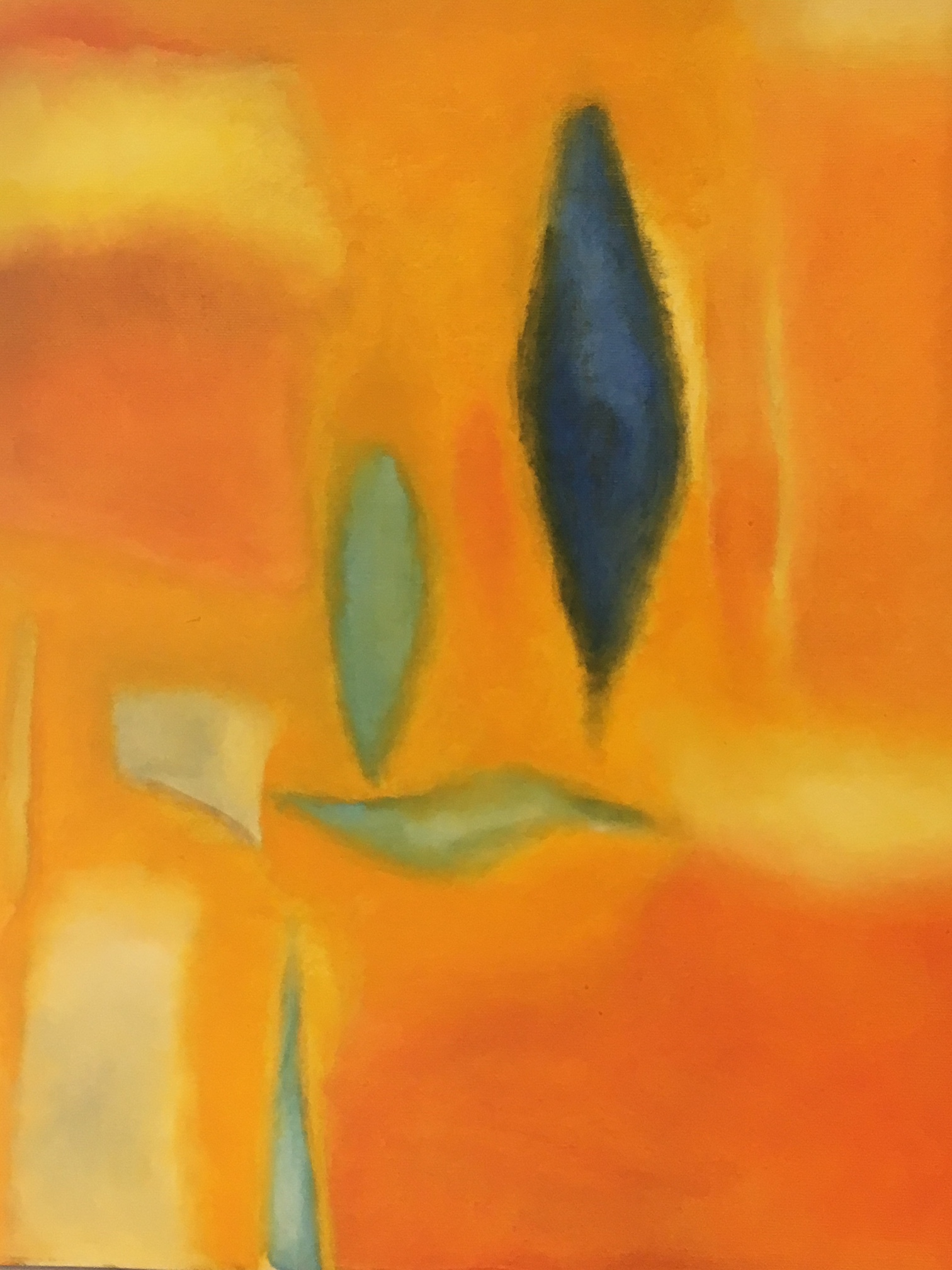 """Blue Celadon Orange Whales""  