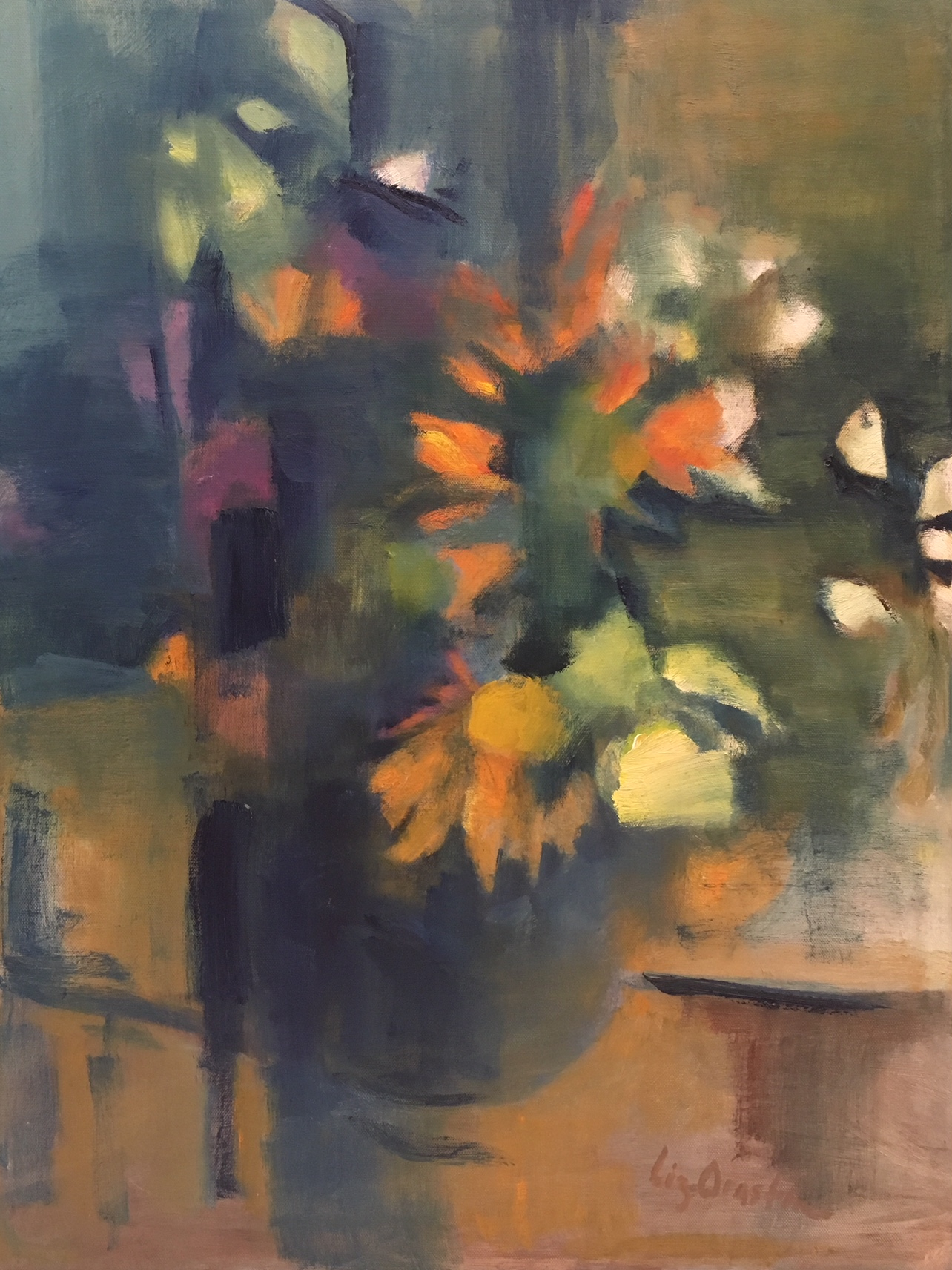 """Orange Flowers In Blue Bowl"" 