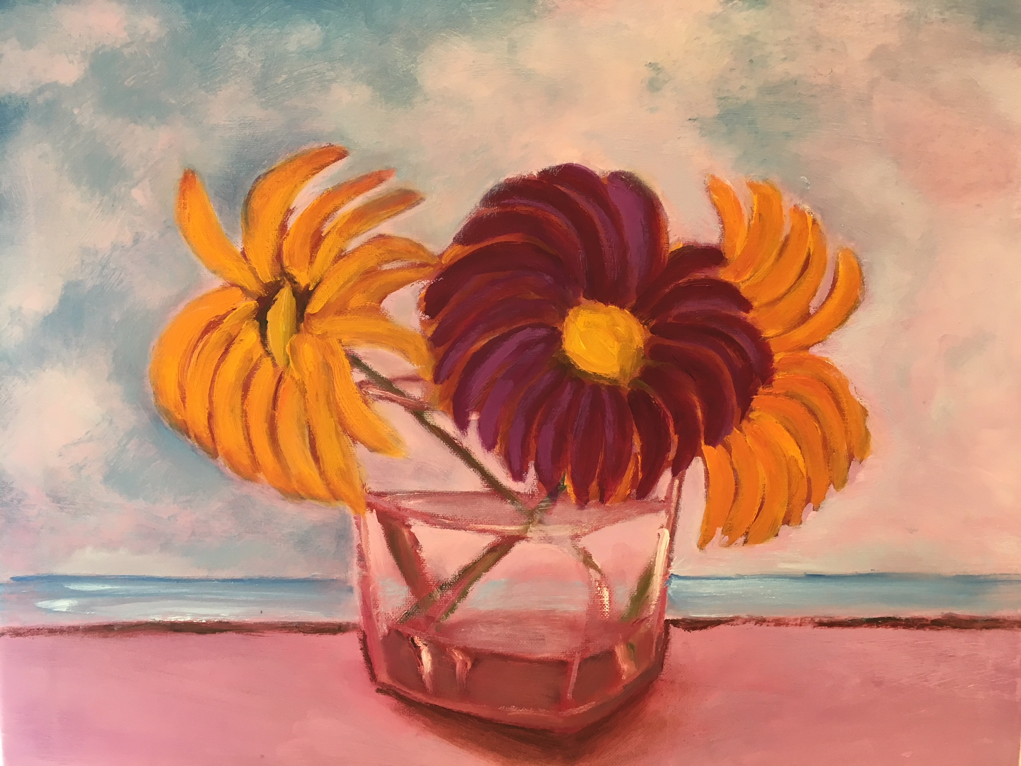 """Pink Sand Flower Glass"" 
