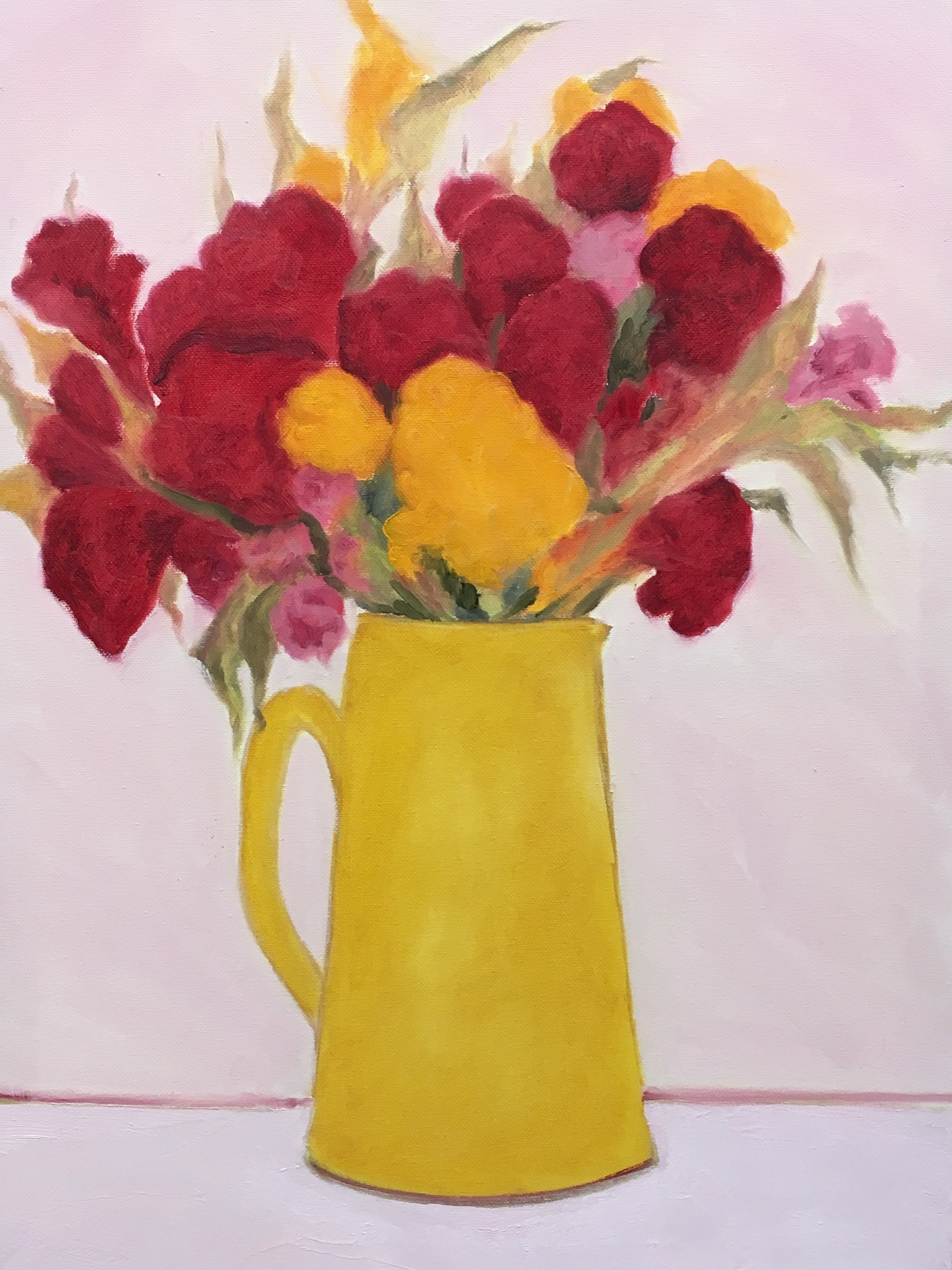 """Yellow Pitcher Red Celosia"" 