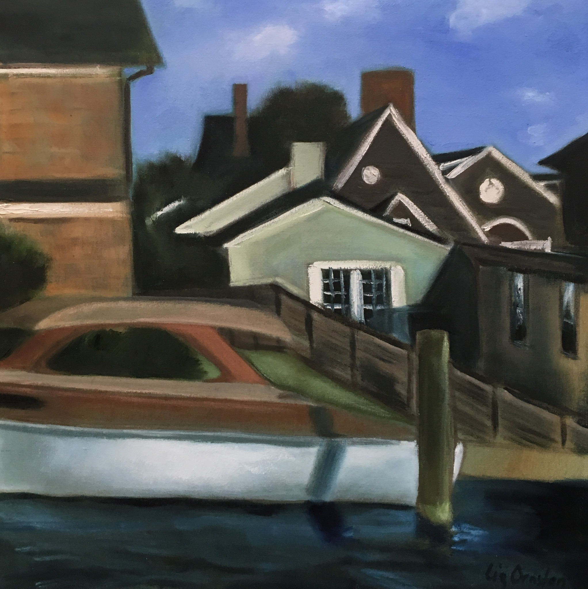 """Summer Houses at Boat Dock"" 