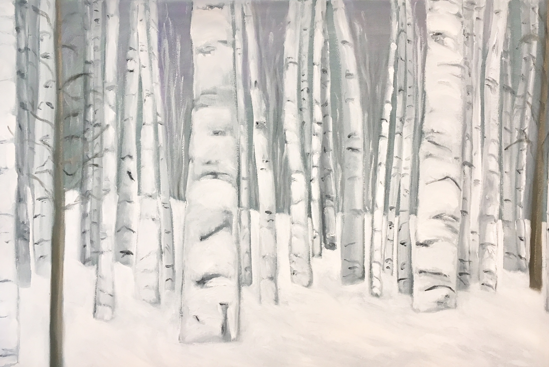 """White Birches In Snow"" 