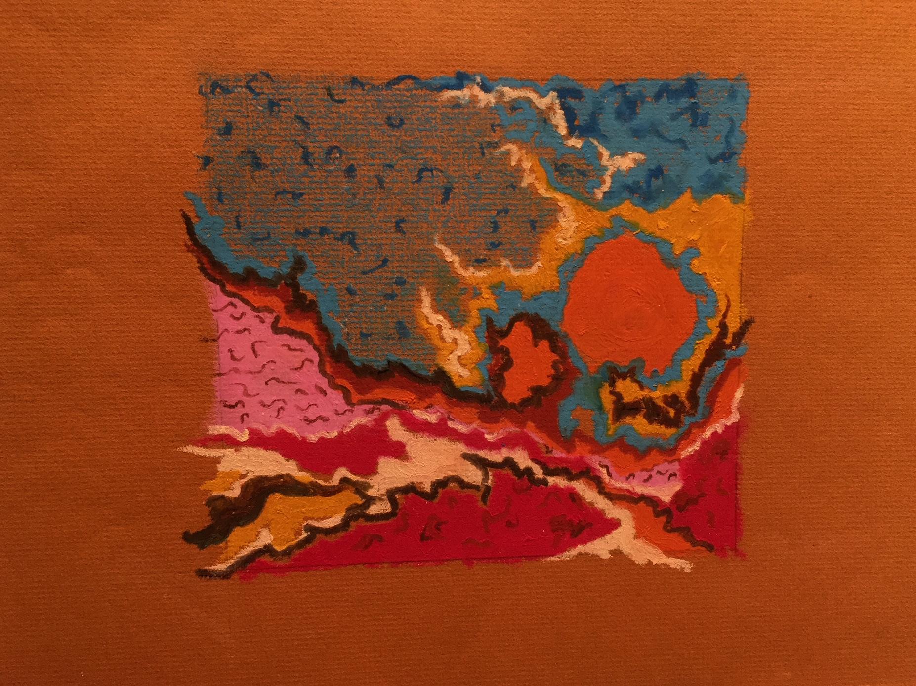 """Orange Sun"" | Cray-Pas on Paper | 9x12"