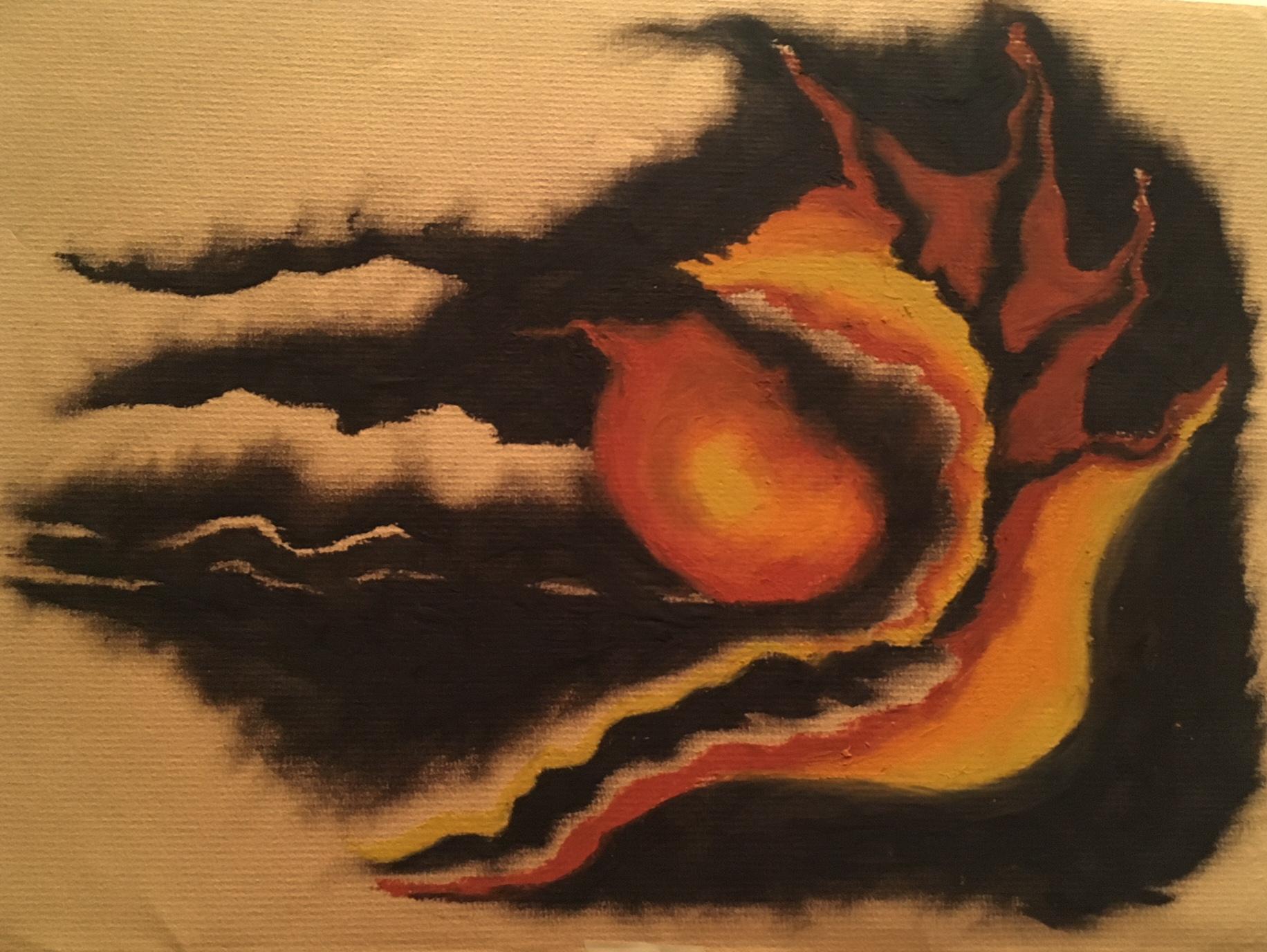 """Burnt Orange Gold"" | Cray-Pas on Paper | 9x12"