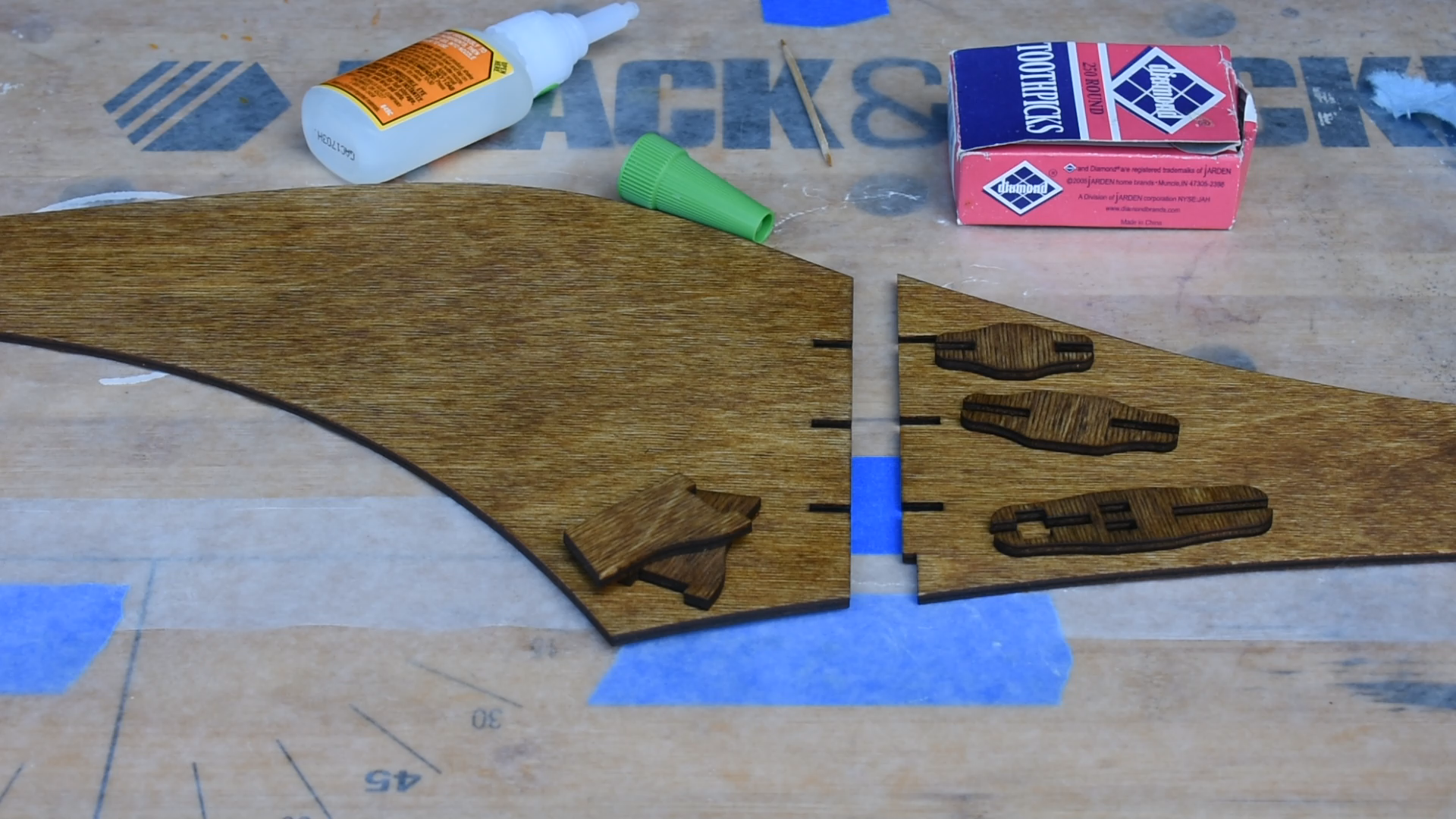 Segments before being glued together