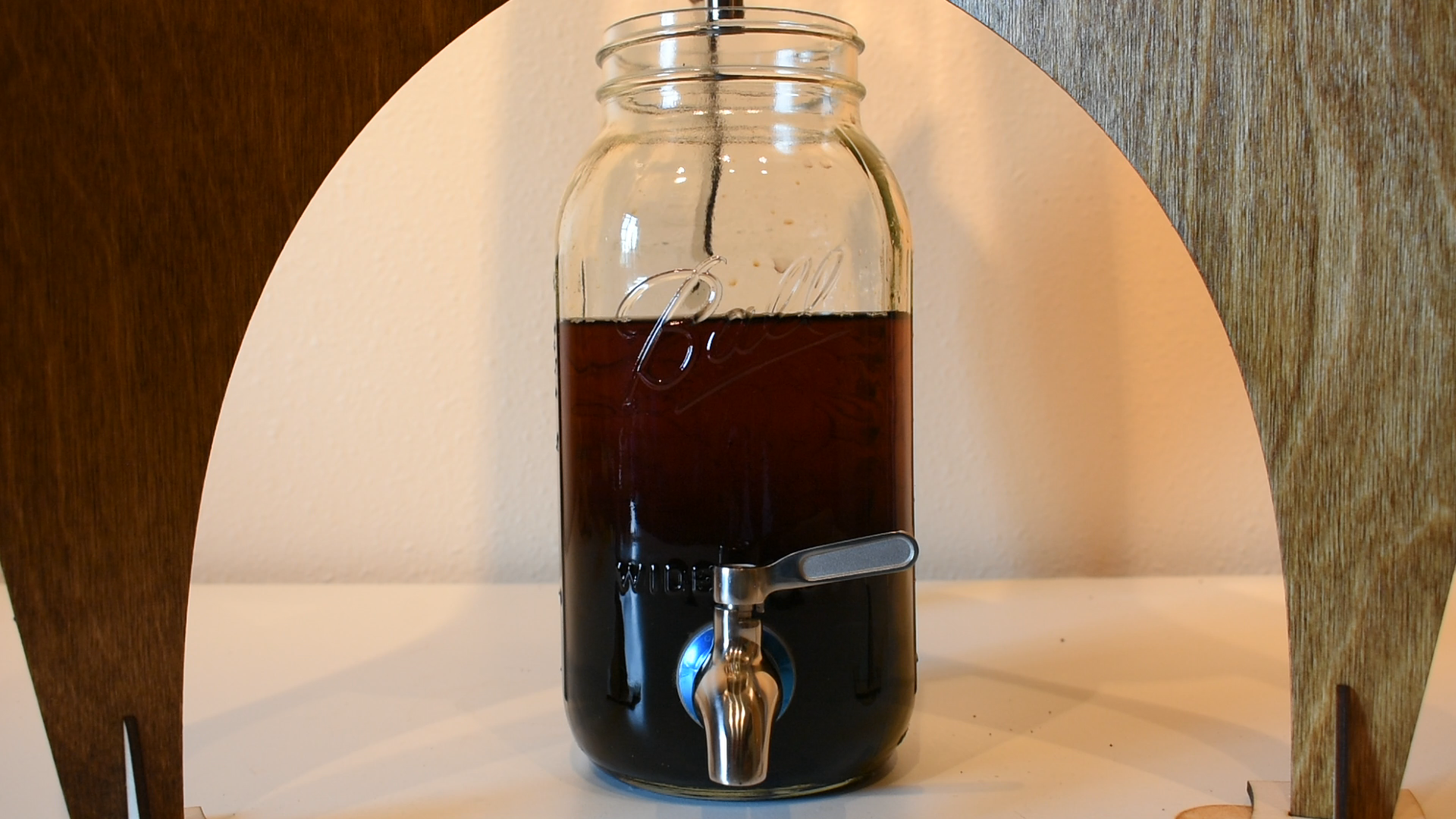 Coffee collected in bottom jar