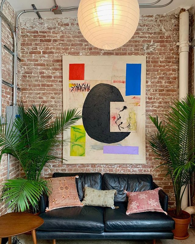 My painting hanging at @n3rdstmarket. Thanks for hooking me up with the best NY studio I ever had. Interior designed by @martine.valentine