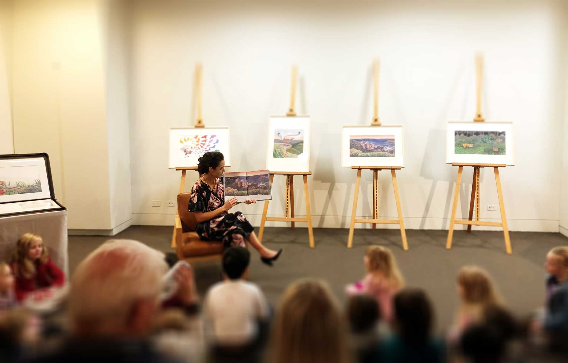 Jodie reading to the Children who visited the book launch with their families.