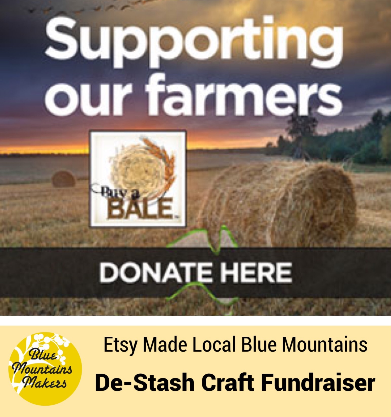 This year we are running a Craft De-stash stall to raise funds for Buy-A-Bale in aid of our farmers who are doing it tough. For a gold coin donation you can fill a paper bag with craft goodies donated by our stall holders.