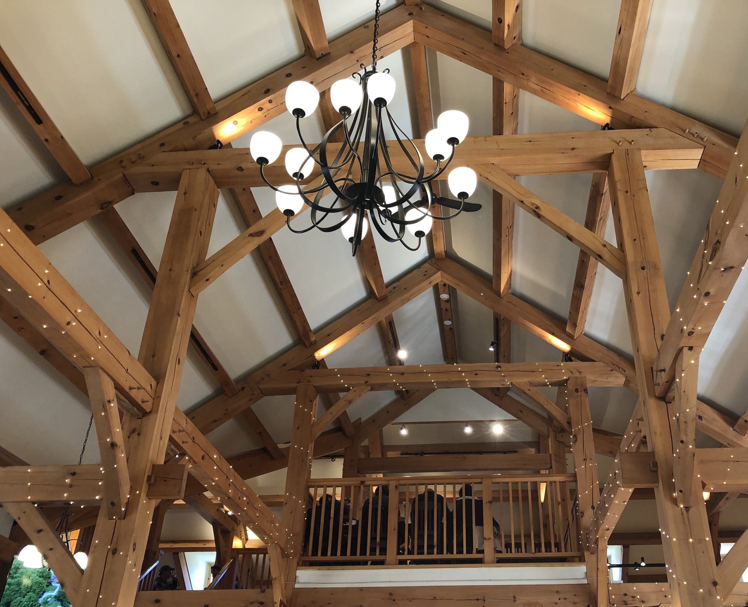 The beautiful post and beam work over the restaurant.