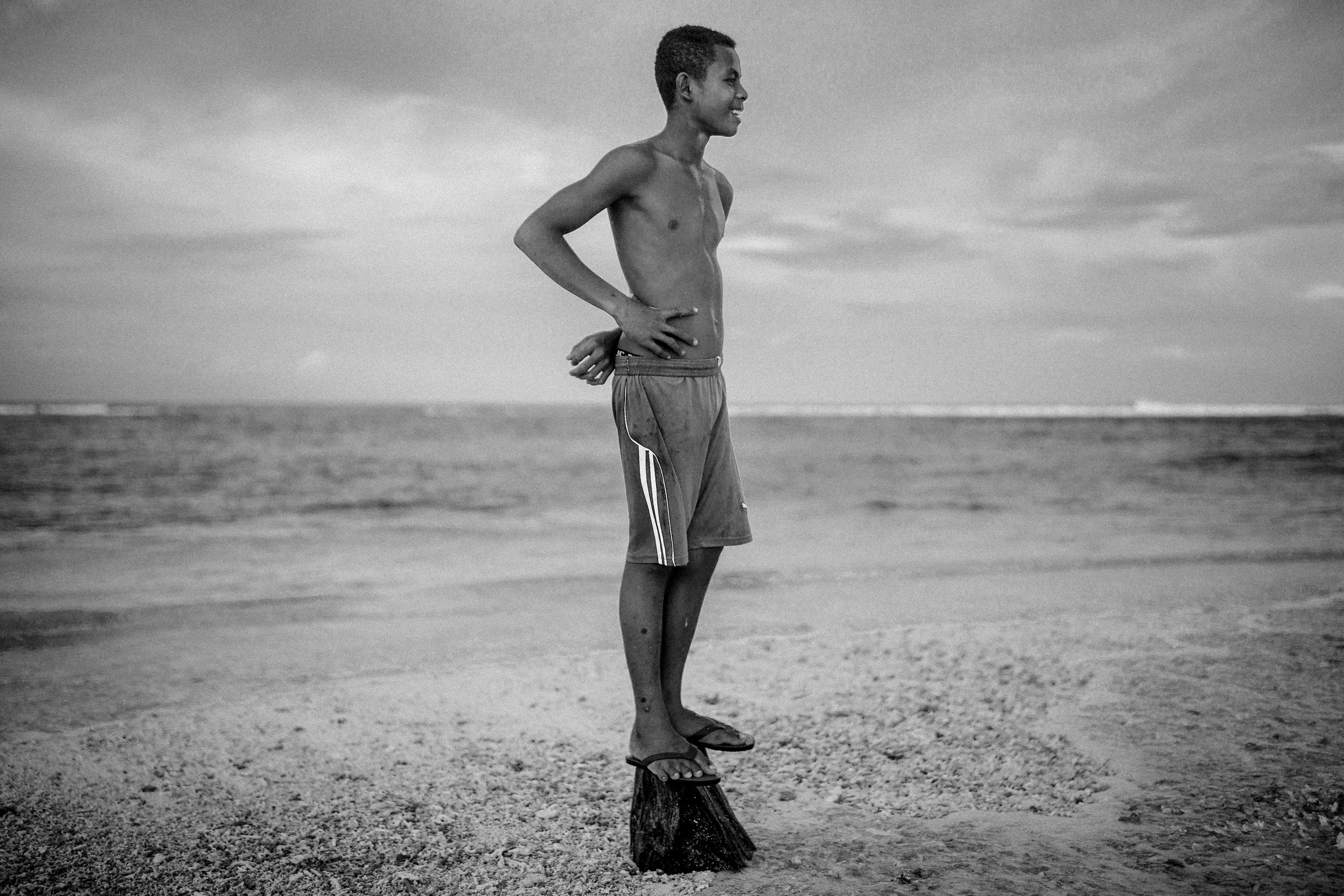 Inhabitant of climate affected island, Pacific ocean / Papua New Guinea