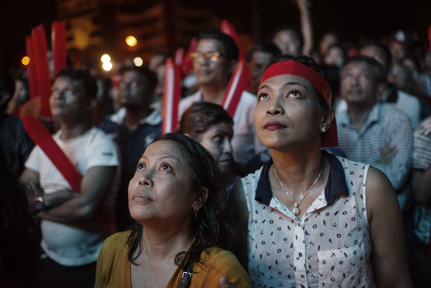 NLD supporters waiting for announcements of the results from general election, Yangon / Burma - 2015