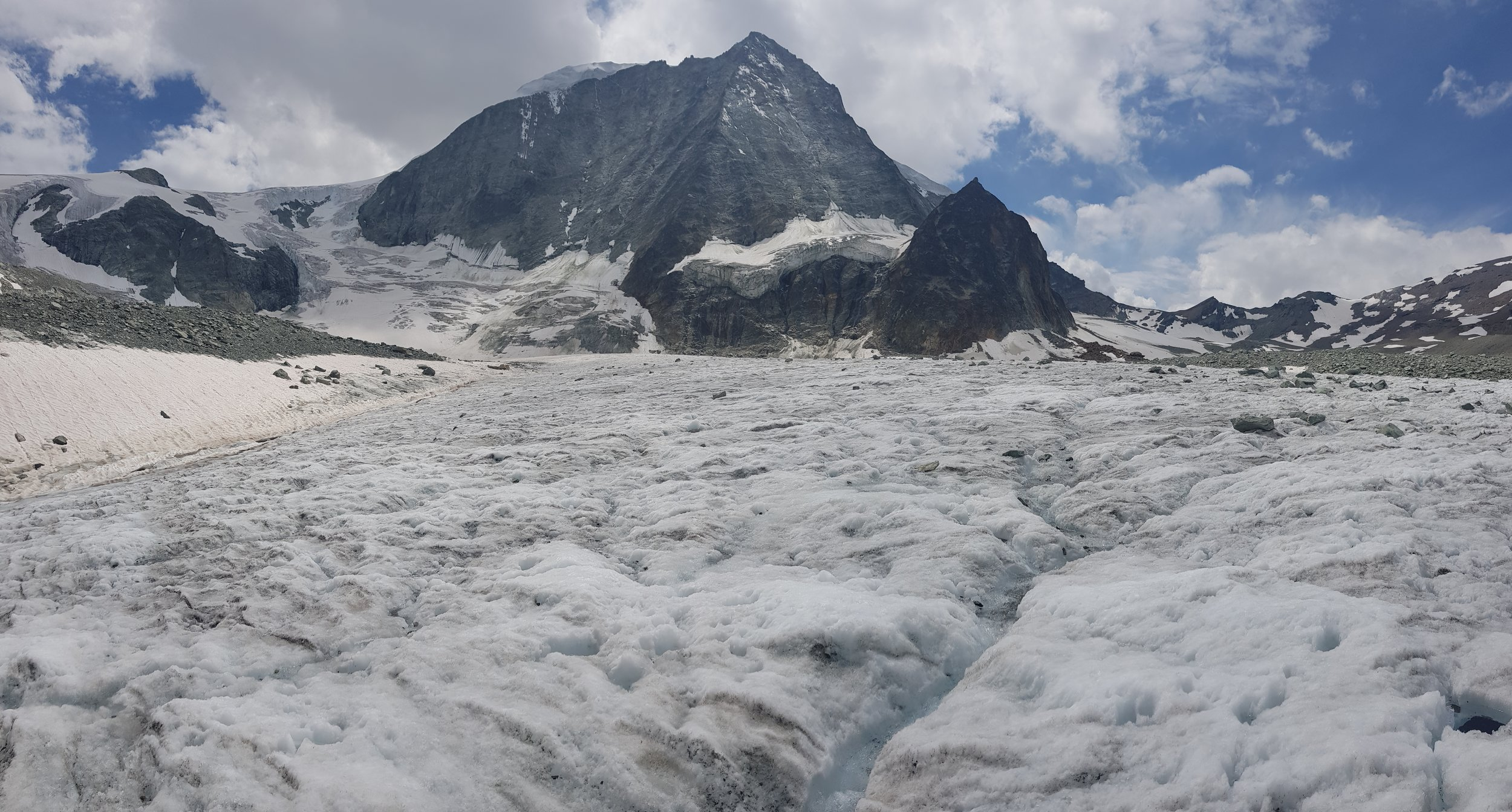 Crossing Glacier de Cheilon that has noticeably receded in the last two years. Given the changing nature of glaciers, it is best to check at Cabane Des Dix whether the trail is safe at that time.