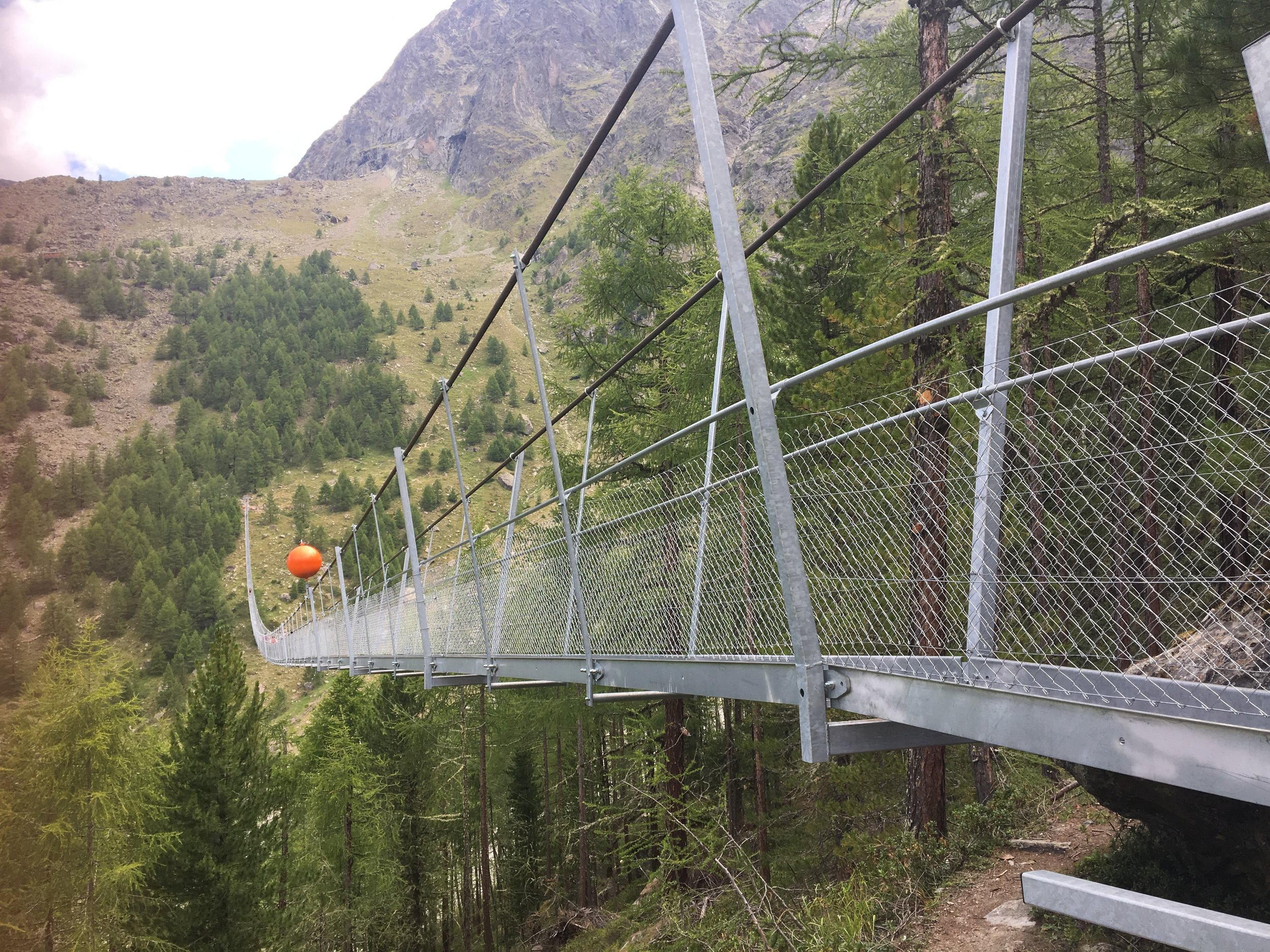 At nearly 500m long and 100m off the ground, the newly built Skywalk is claimed to be the longest suspension bridge in the world. It is on the Europaweg trail section of the Haute Route between Europa Hut and Taschalp.