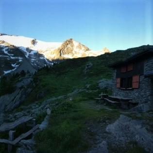 Refuge Les Grands:  Enjoying the morning sunrise on Glacier du Trient