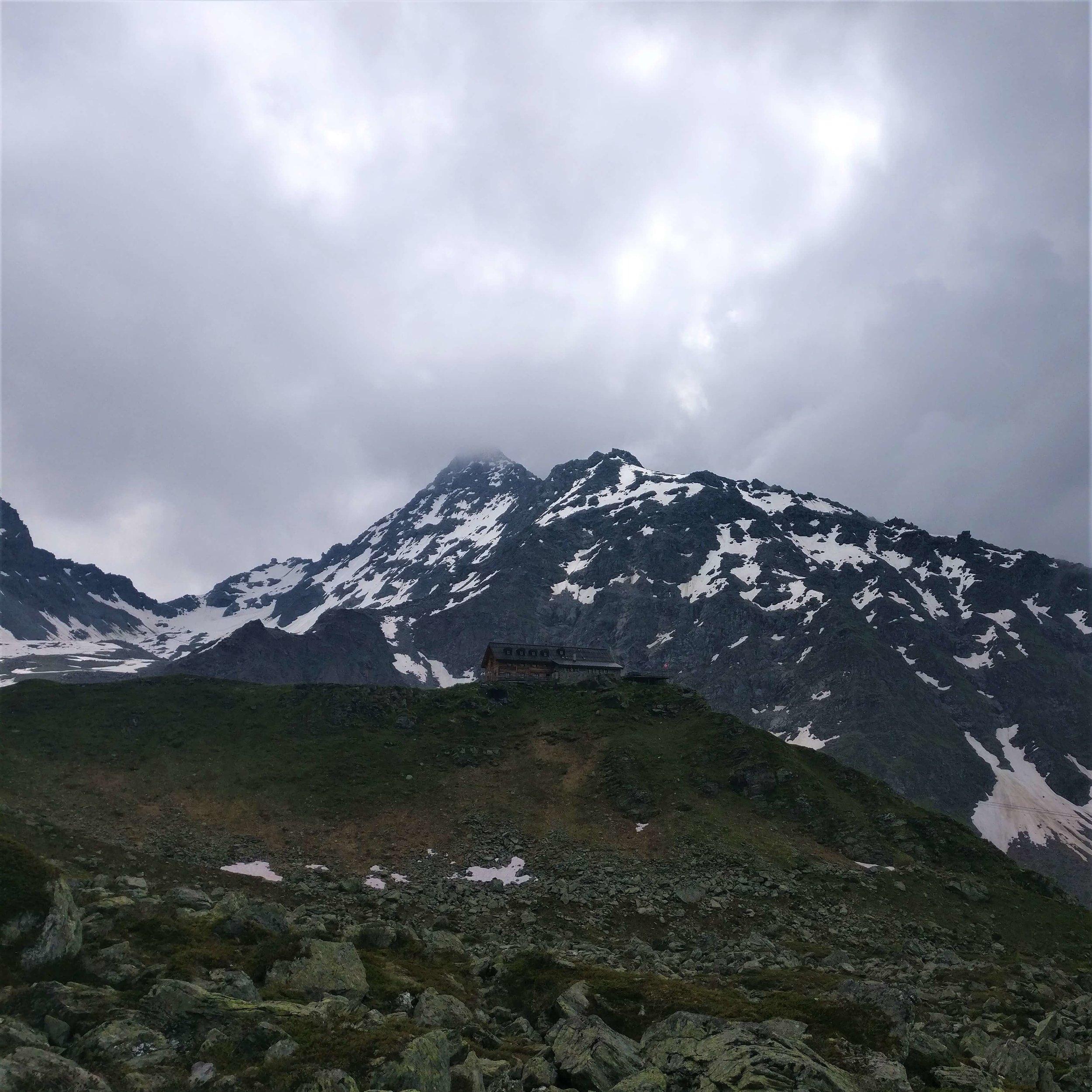 Cabane du Mont Fort:  Storm clouds brewing above the alpine hut
