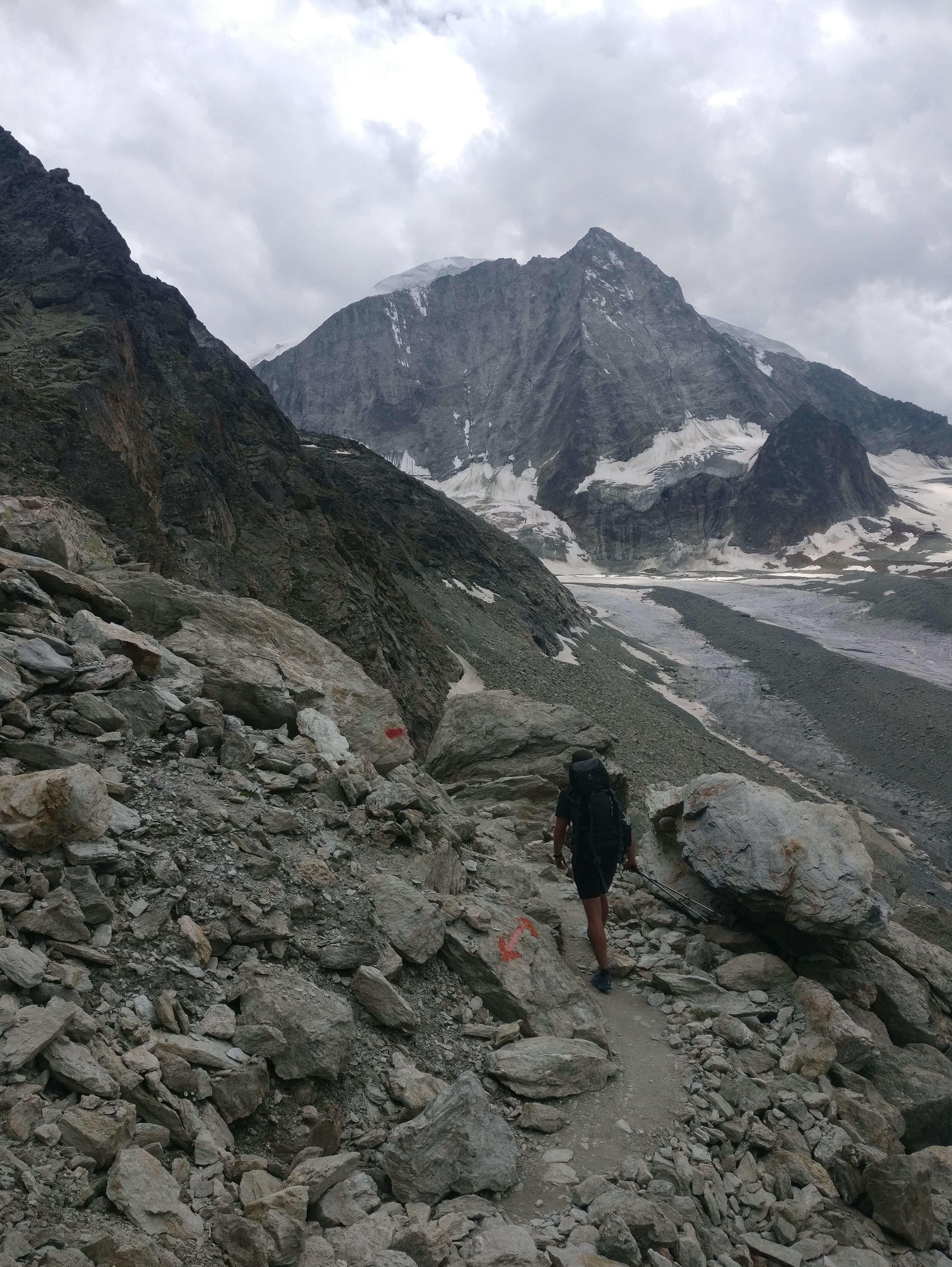 Haute Route Hike: Crossing the boulder field upto Col de Reidmatten where I ran out of water