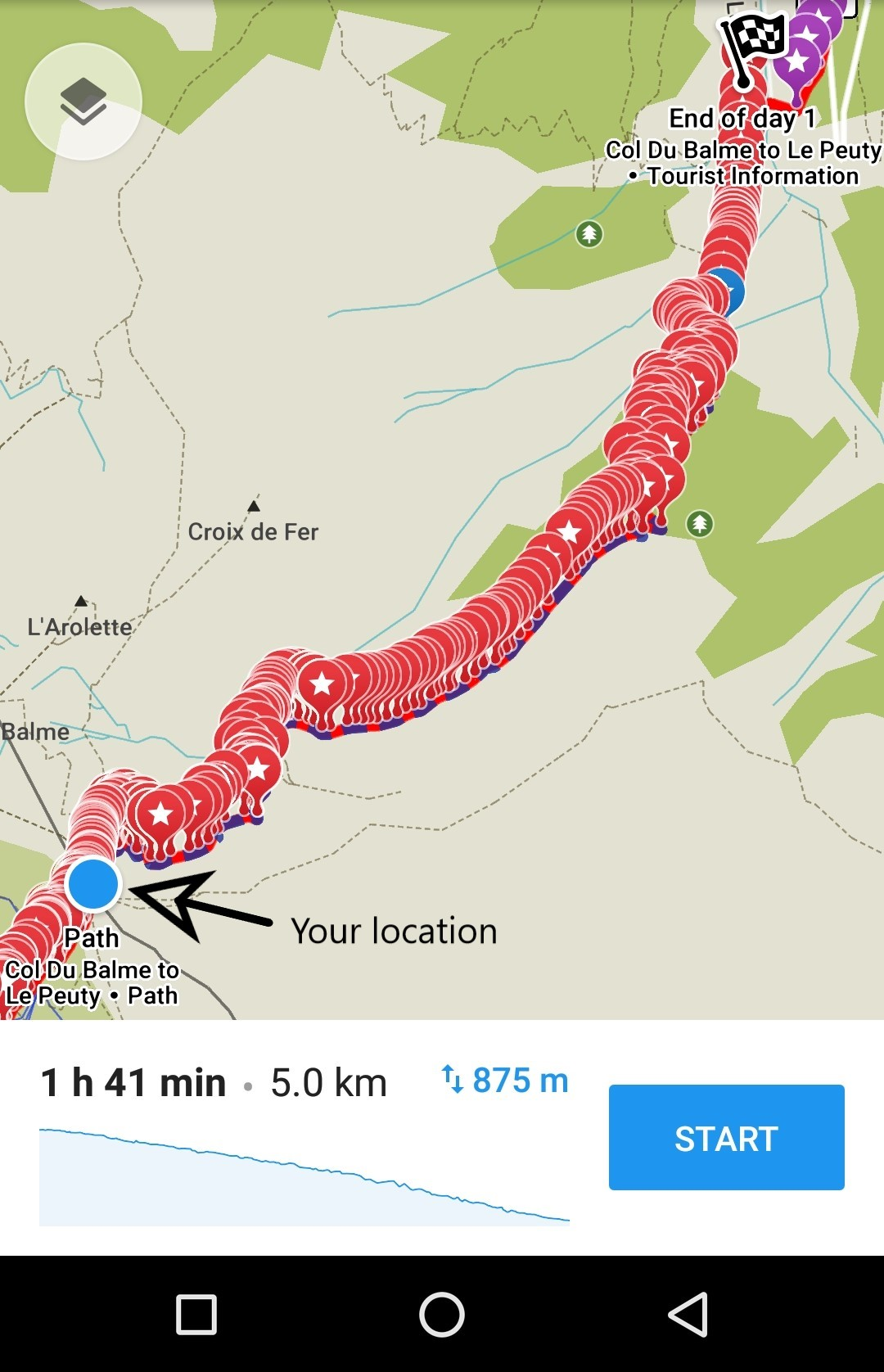 The Haute Route maps with GPS coordinates
