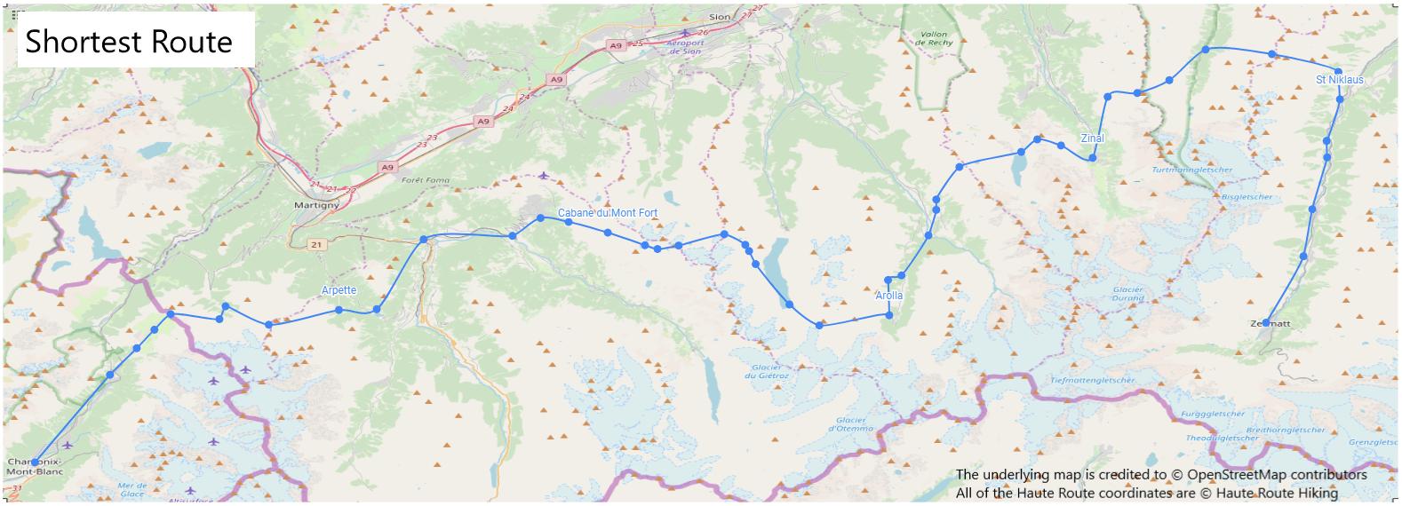 Walker's Haute Route Map_Shortest Route