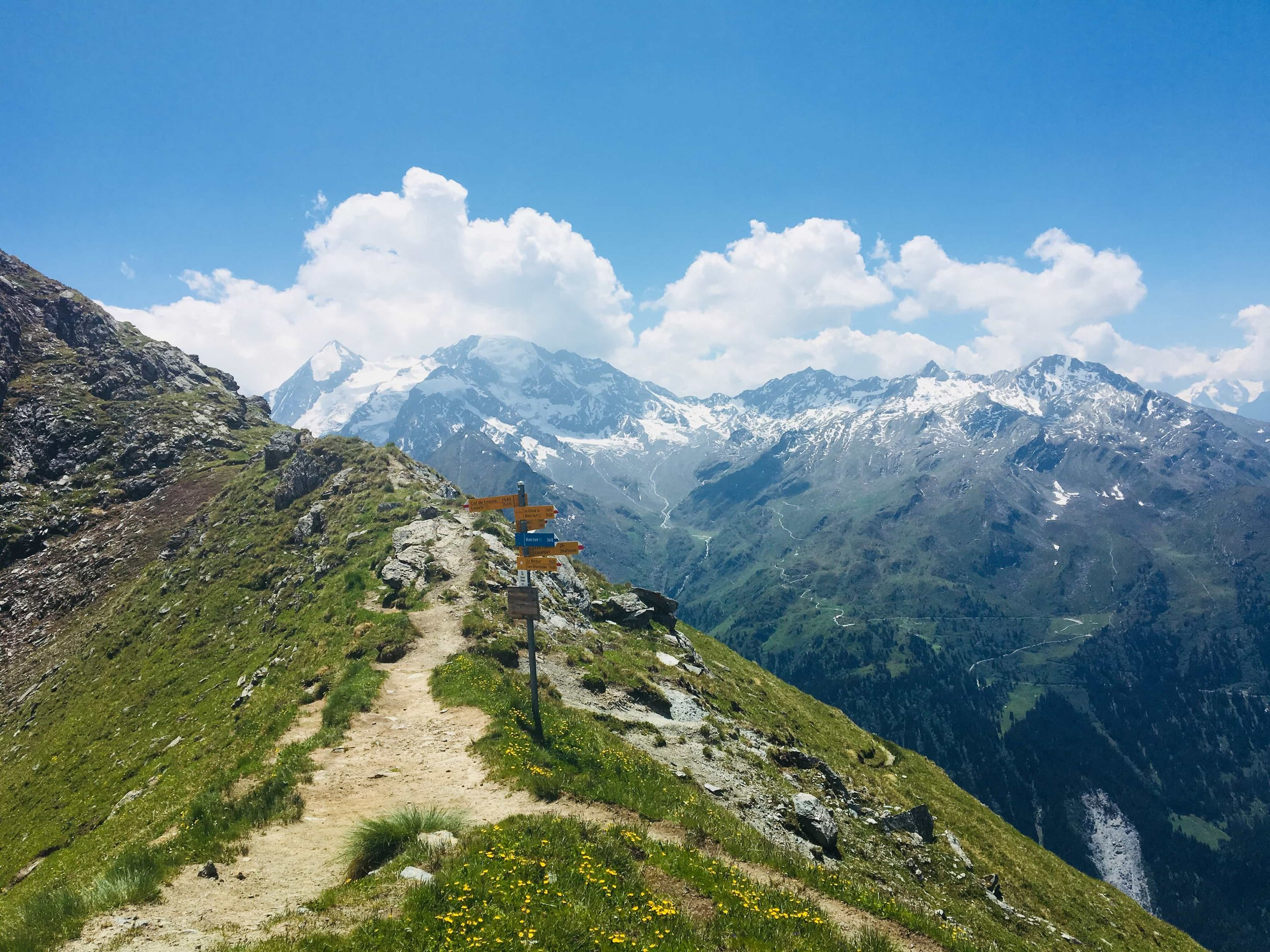 "The walk along the ""Sentier des Chamois"" (or Sentier Trail in English) towards Col Termin is one of the most spectacular on the Walker's Haute Route Trail. The Combin Massif dominates the view across the valley."