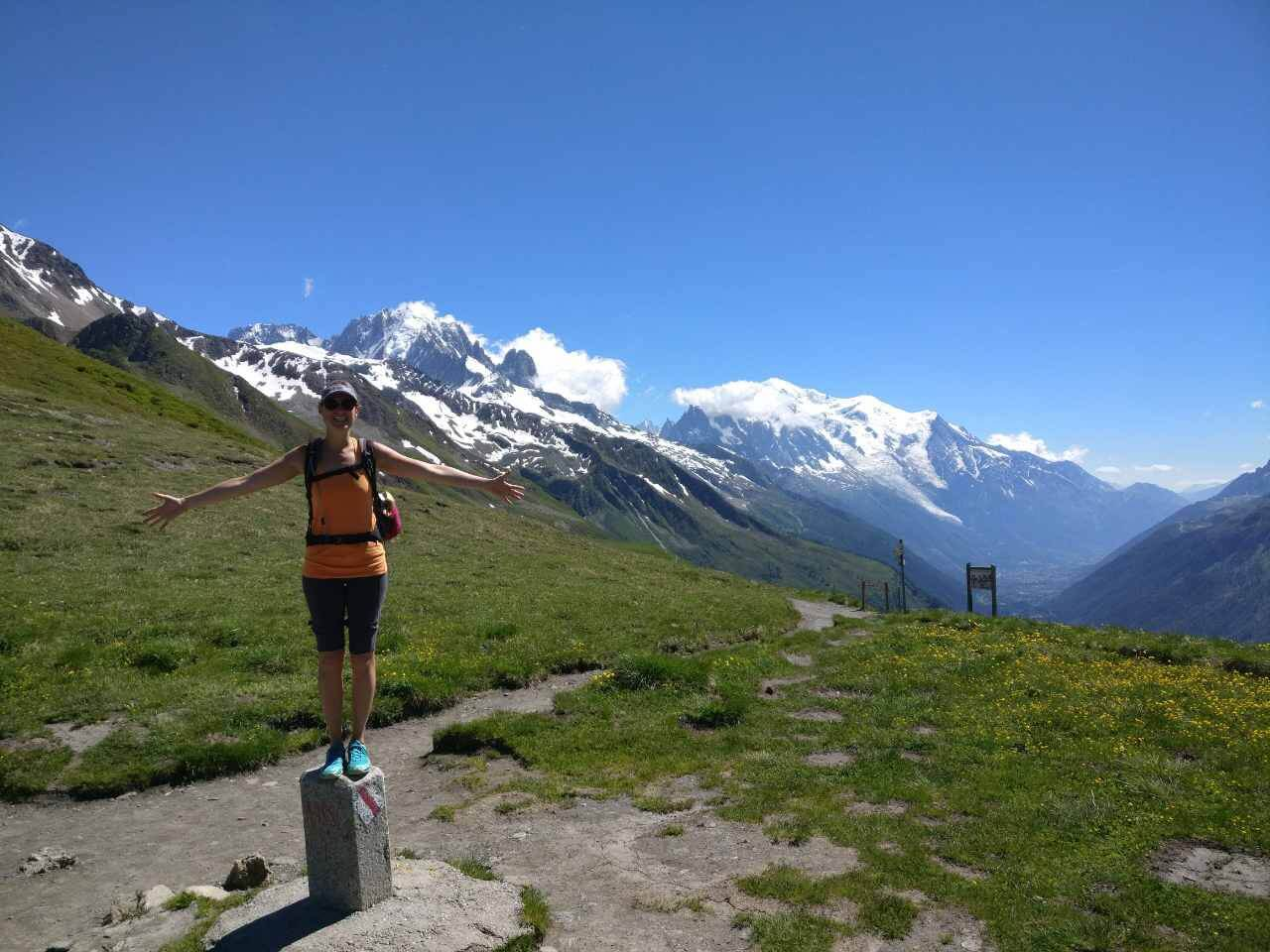 At Col de Balme, standing on the border between France and Switzerland