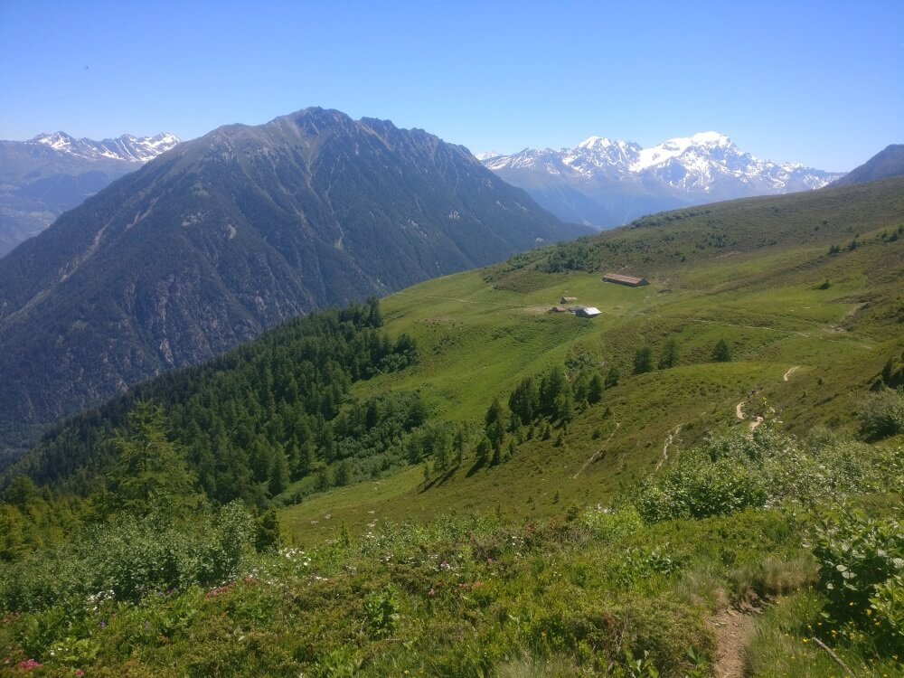 View from the high point on the Alp Bovine trail on the Walker's Haute Route which is the alternative option to climbing over Fentre dÁrpette