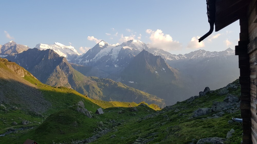 The view from outside Cabane du Louvie on the Walker's Haute Route