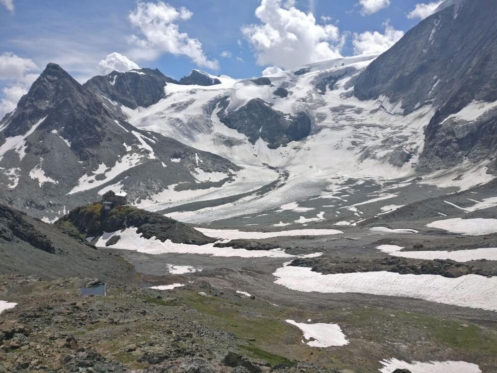 Cabane Des Dix overlooking the Cheilon Glacier on the Walker's Haute Route