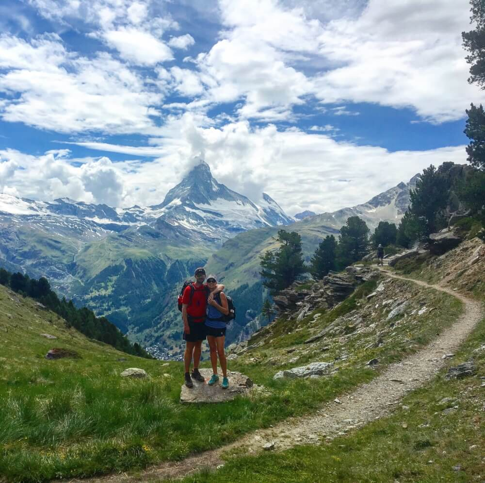 Europaweg trail leads hikers on the Walker's Haute Route into Zermatt along the balcony trail that provides landscape views of the Matterhorn and other mountains lining the Mattertal Valley.