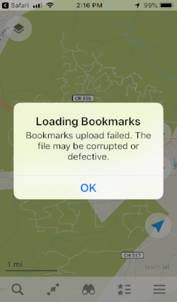 Image 11:  Screen when it hasn't worked correctly. If so, uninstall the Maps.Me application and start the steps again.
