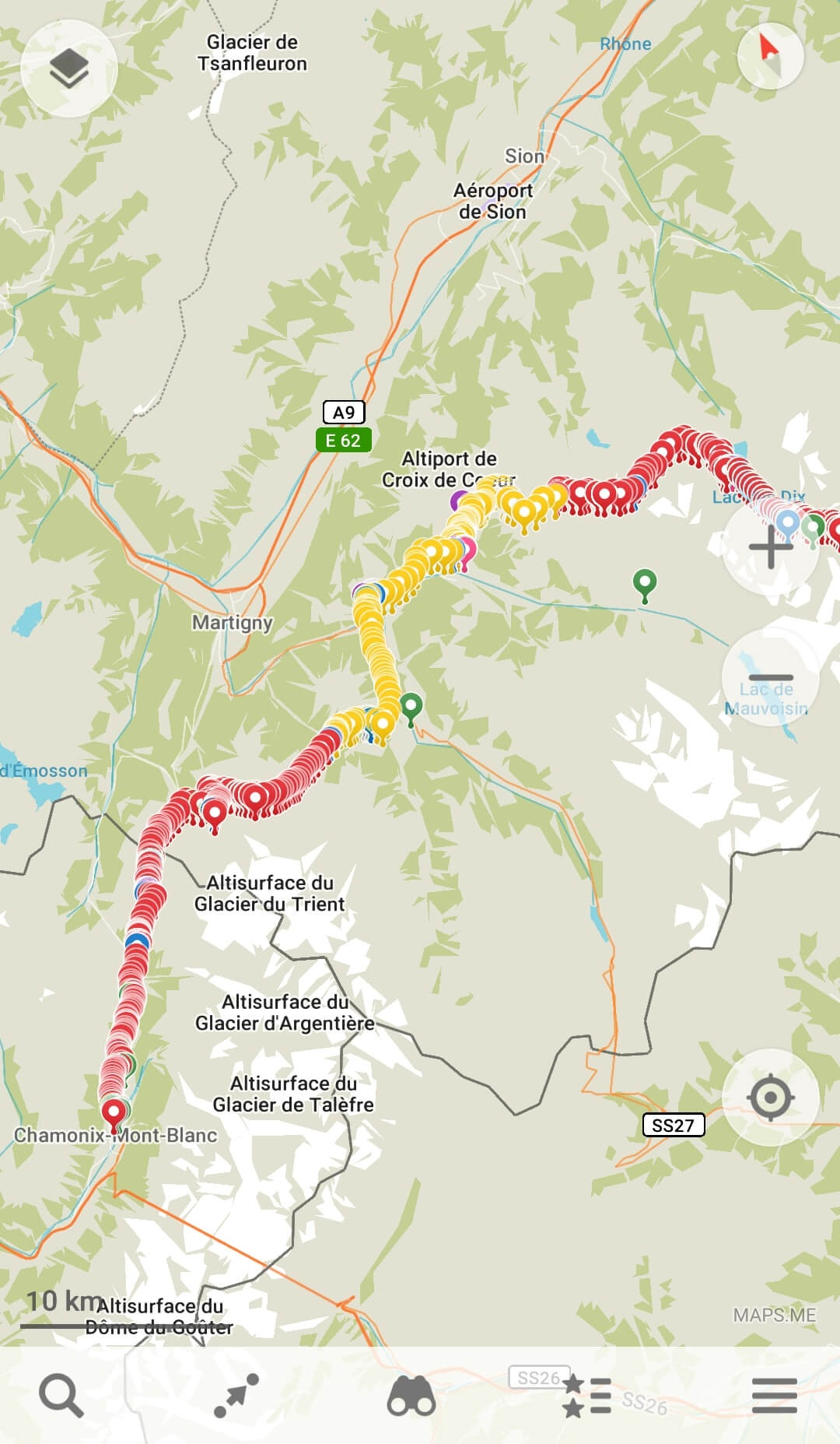 Haute Route Map of the Elite 6-day shortest route itinerary