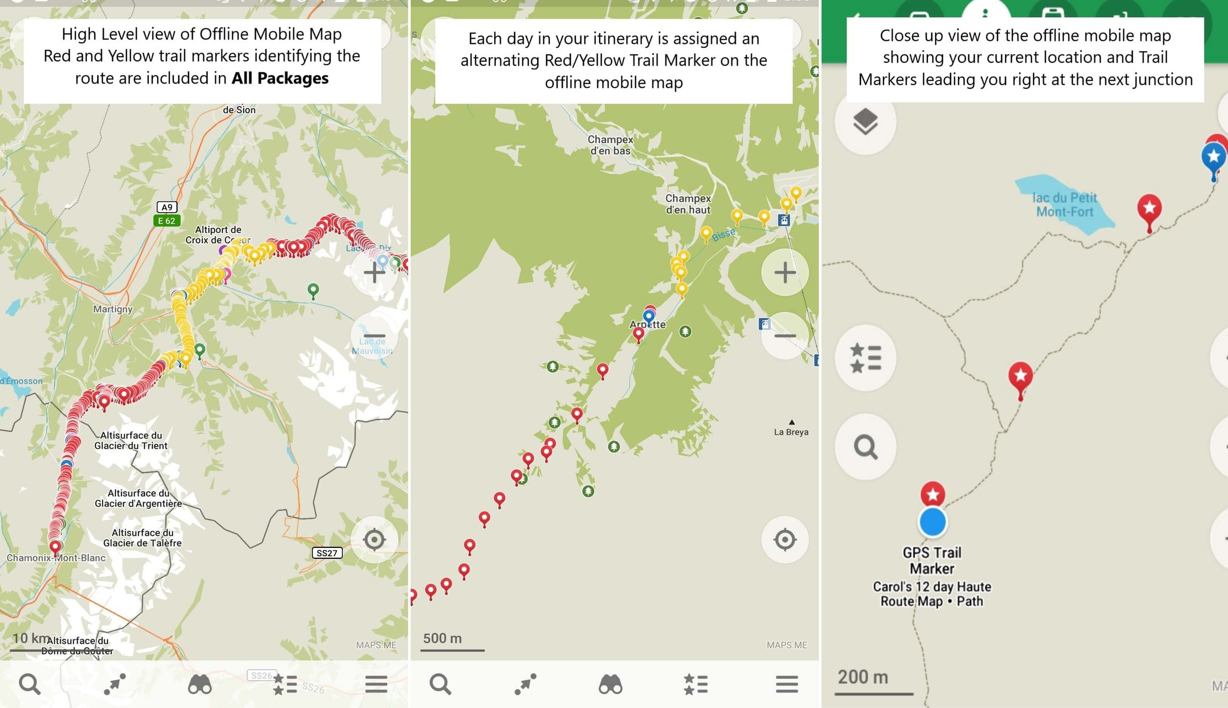 Walker's Haute Route Map for mobile phone