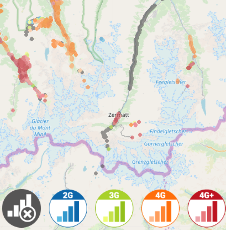 The grey dots indicate where a Sunrise customer has tried to find a signal but been unable to do so. The underlying map is credited to  © OpenStreetMap contributors . The cell signal data is credited to  © nPerf 2014-2019