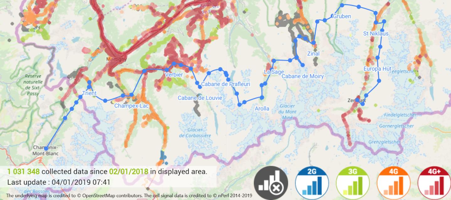 Salt network coverage verification on the Haute Route per nPerfs cell signal test data.
