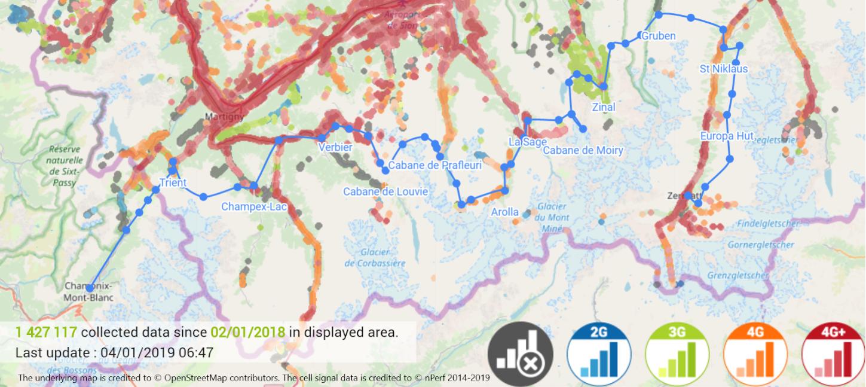 Swisscom network coverage verification on the Haute Route per nPerfs cell signal test data.
