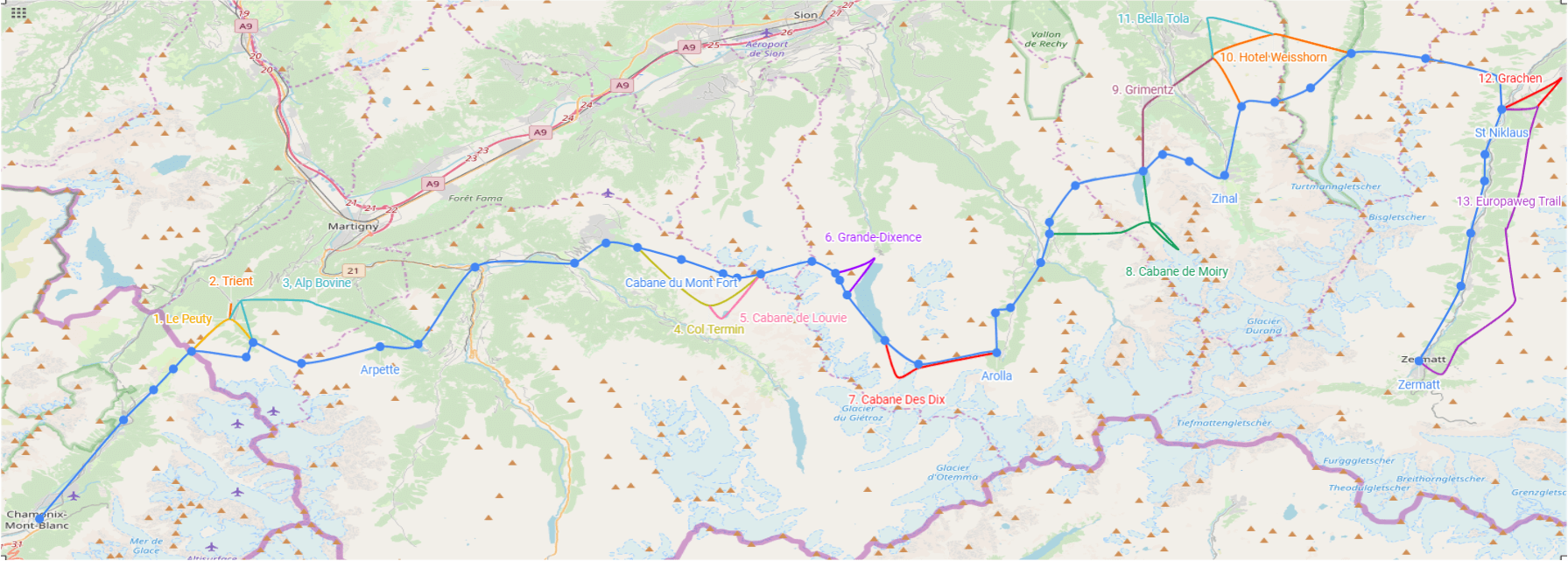 Shortest hiking route from Chamonix to Zermatt marked in blue with the 13 alternatives labelled in other colours