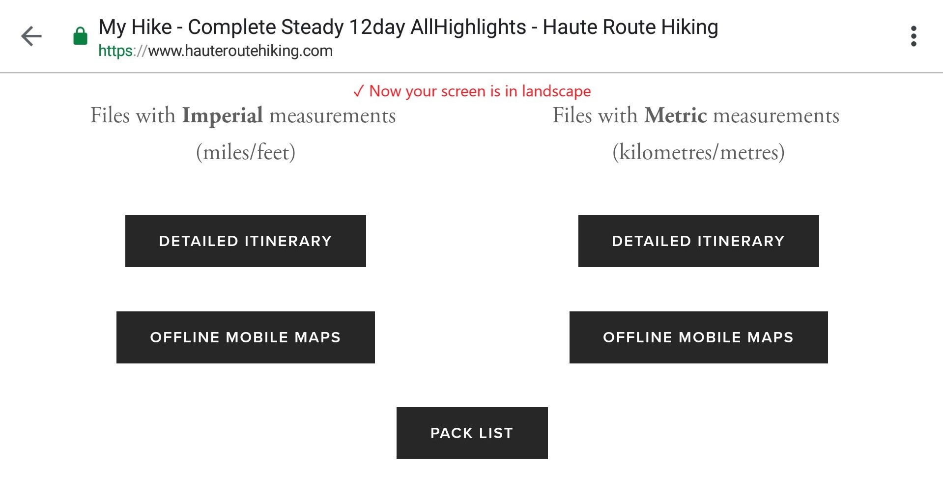 Image 4:  When you phone is positioned in landscape, you'll be able to see which offline mobile map is for Imperial measurements and Metric measurements.