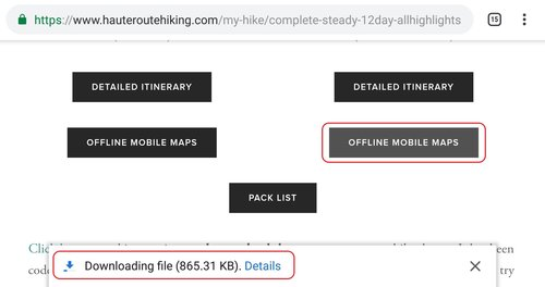 How to use your offline mobile map - Haute Route Hiking Clic Maps on