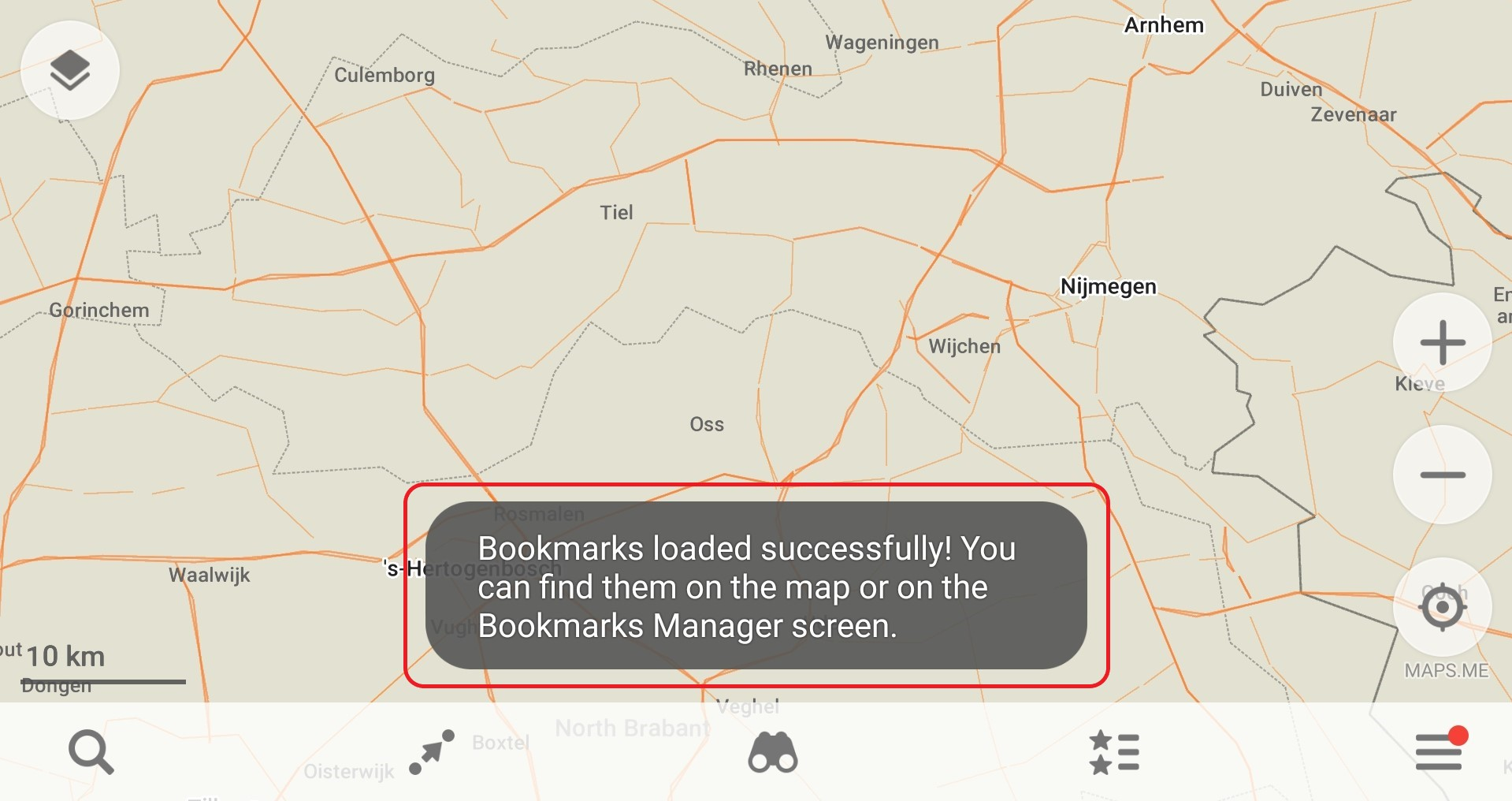 Image 10:  Notification when you have successfully loaded the GPS file into the Maps.Me application